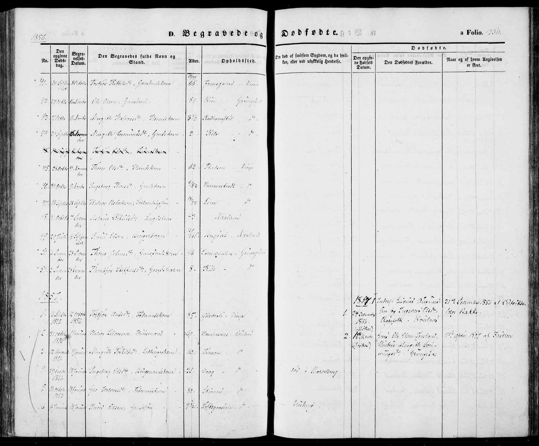 SAKO, Vinje kirkebøker, F/Fa/L0004: Ministerialbok nr. I 4, 1843-1869, s. 350