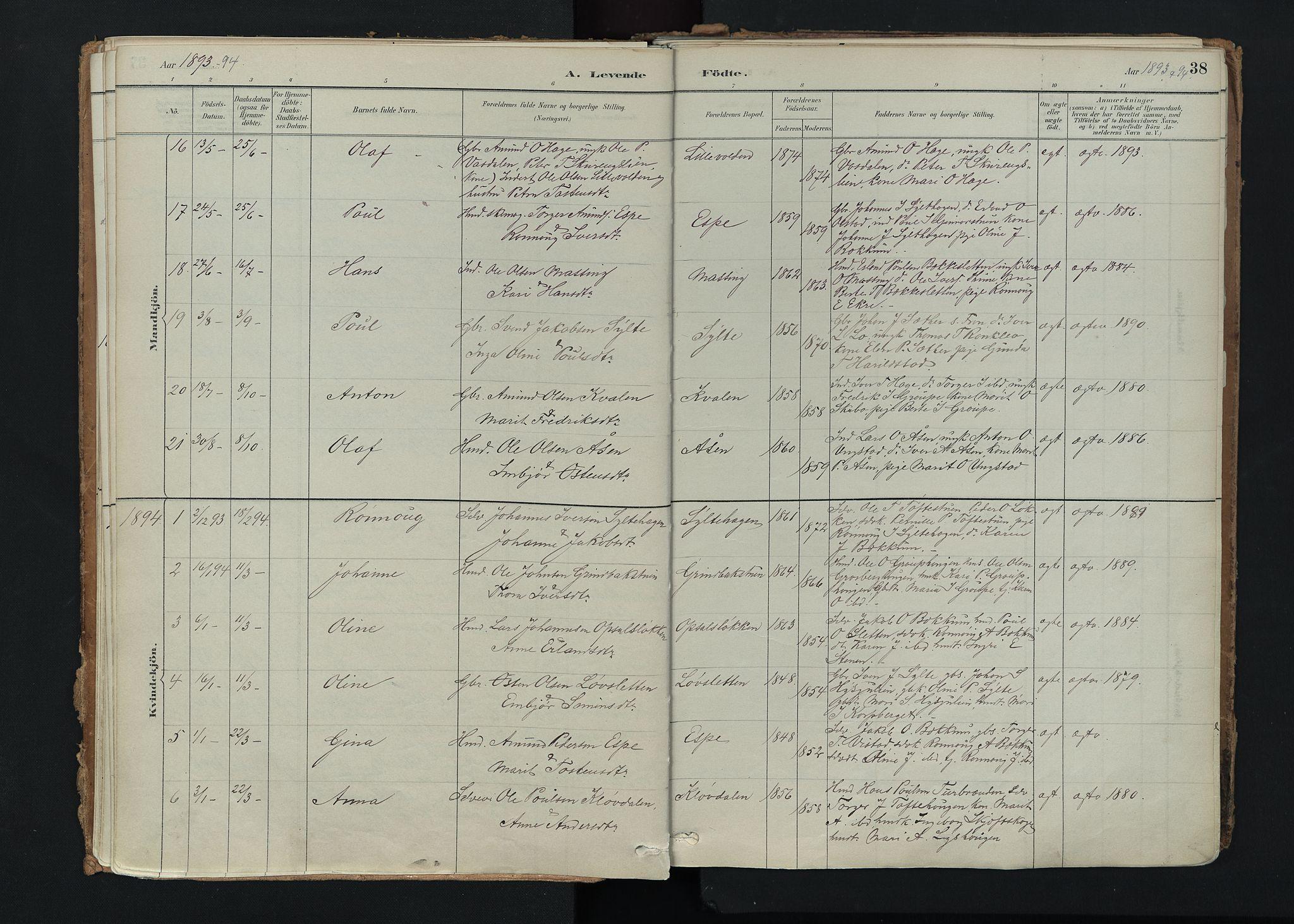 SAH, Nord-Fron prestekontor, Ministerialbok nr. 5, 1884-1914, s. 38