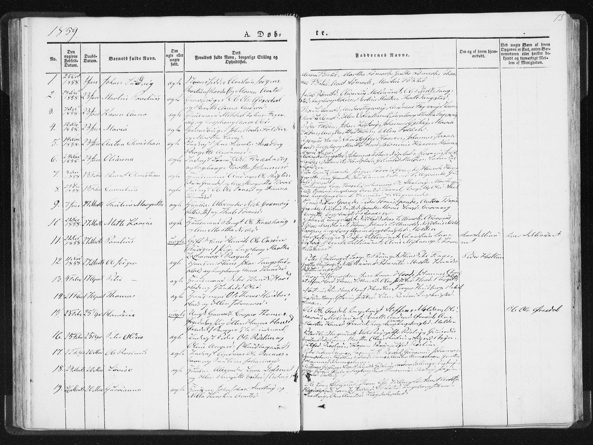 SAT, Ministerialprotokoller, klokkerbøker og fødselsregistre - Nord-Trøndelag, 744/L0418: Ministerialbok nr. 744A02, 1843-1866, s. 75
