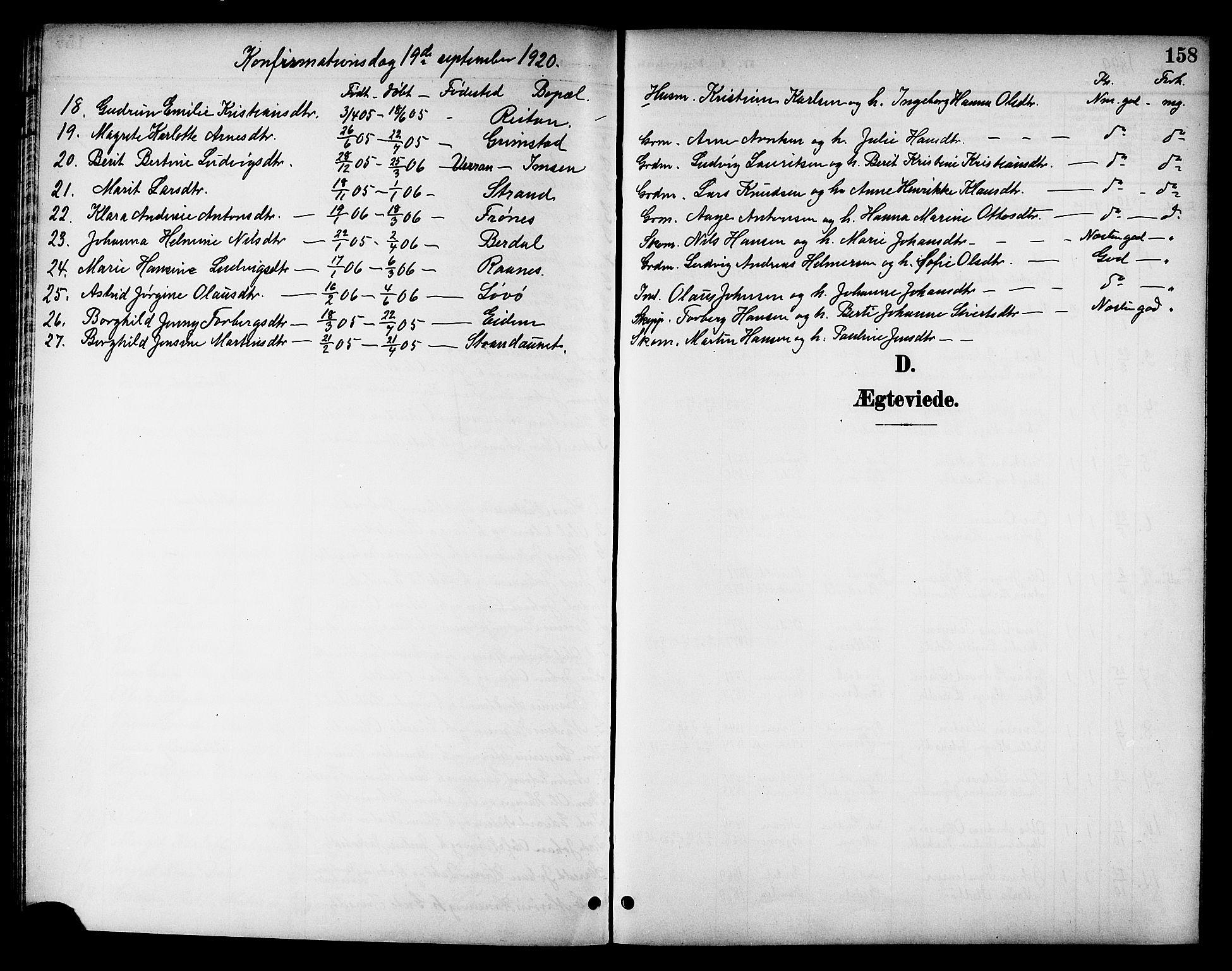 SAT, Ministerialprotokoller, klokkerbøker og fødselsregistre - Sør-Trøndelag, 655/L0688: Klokkerbok nr. 655C04, 1899-1922, s. 158