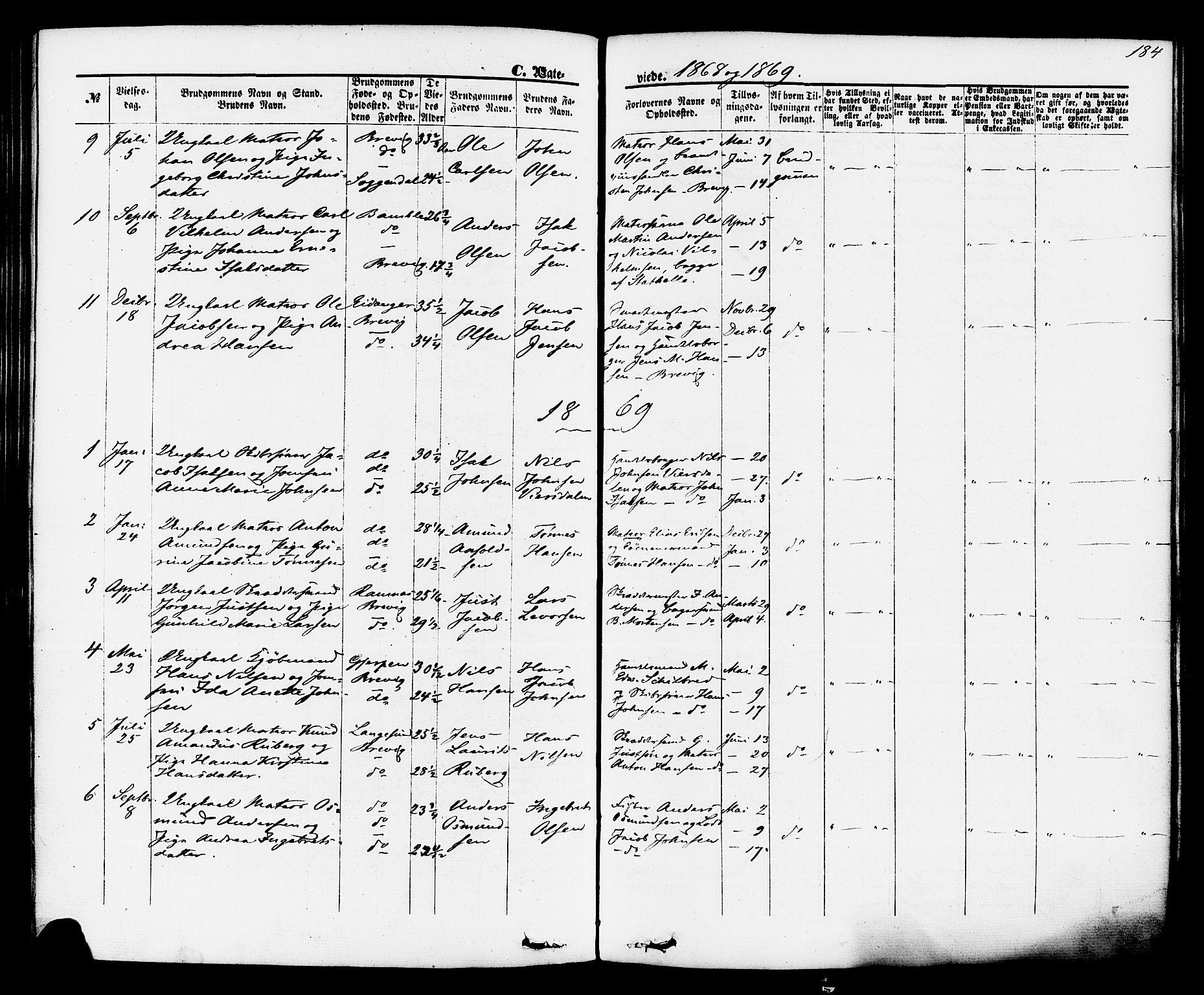 SAKO, Brevik kirkebøker, F/Fa/L0006: Ministerialbok nr. 6, 1866-1881, s. 184