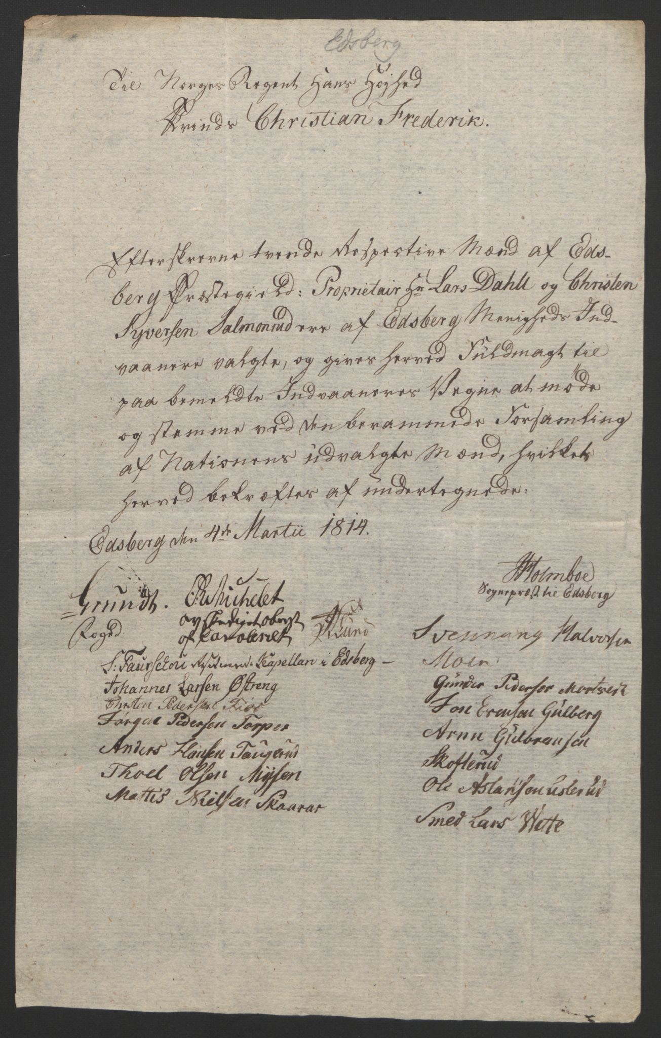 RA, Statsrådssekretariatet, D/Db/L0007: Fullmakter for Eidsvollsrepresentantene i 1814. , 1814, s. 145