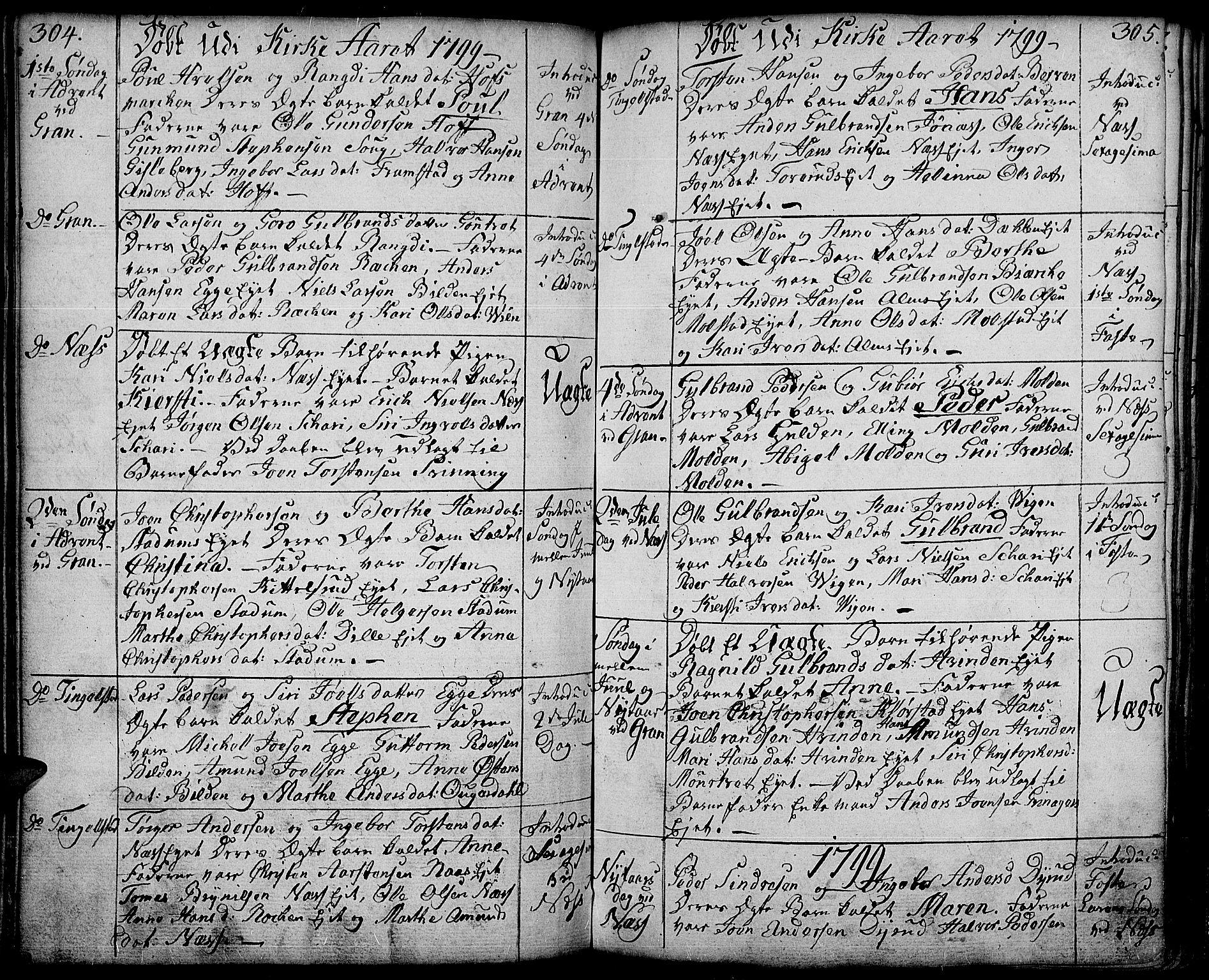 SAH, Gran prestekontor, Ministerialbok nr. 6, 1787-1824, s. 304-305