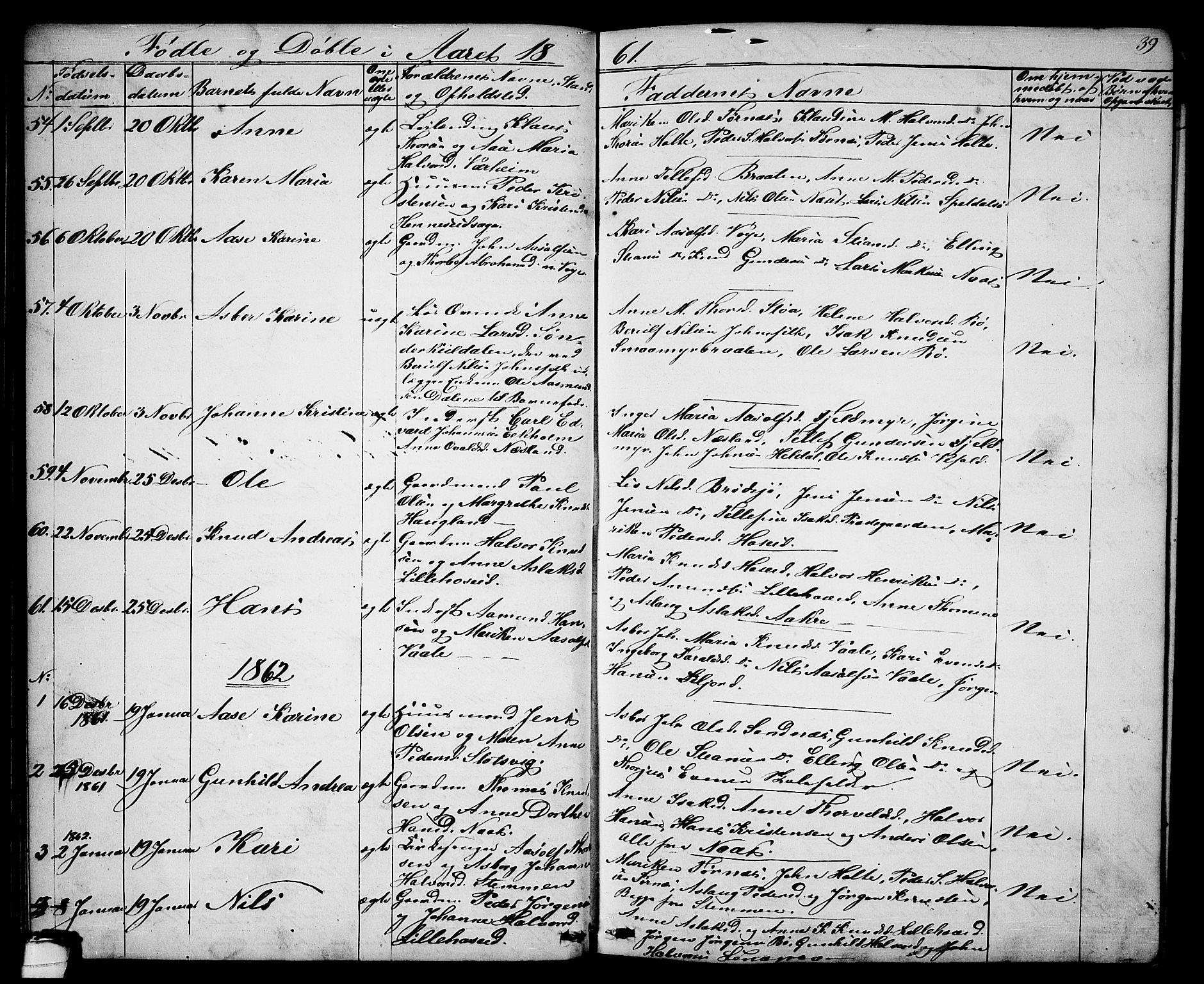 SAKO, Drangedal kirkebøker, G/Ga/L0002: Klokkerbok nr. I 2, 1856-1887, s. 39