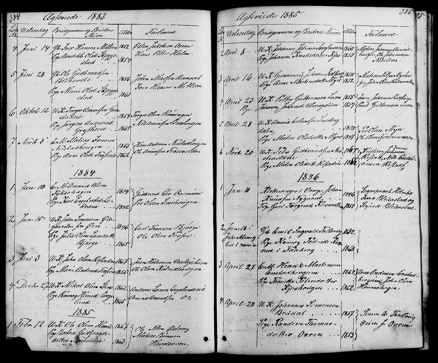 SAH, Østre Gausdal prestekontor, Klokkerbok nr. 1, 1863-1893, s. 384-385