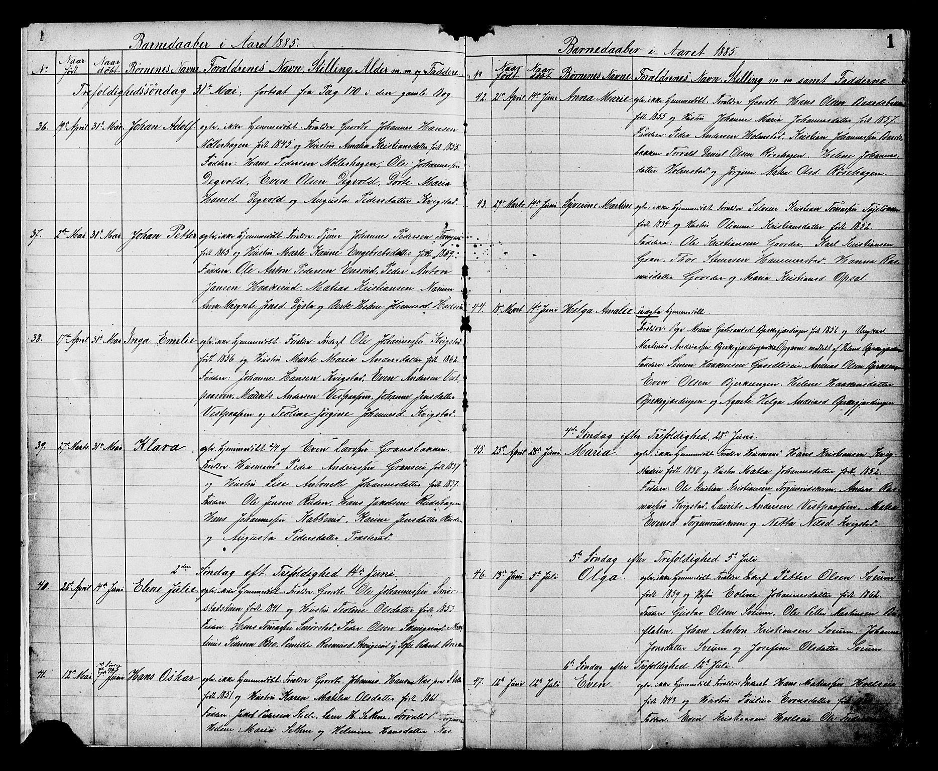 SAH, Vestre Toten prestekontor, H/Ha/Hab/L0008: Klokkerbok nr. 8, 1885-1900, s. 1