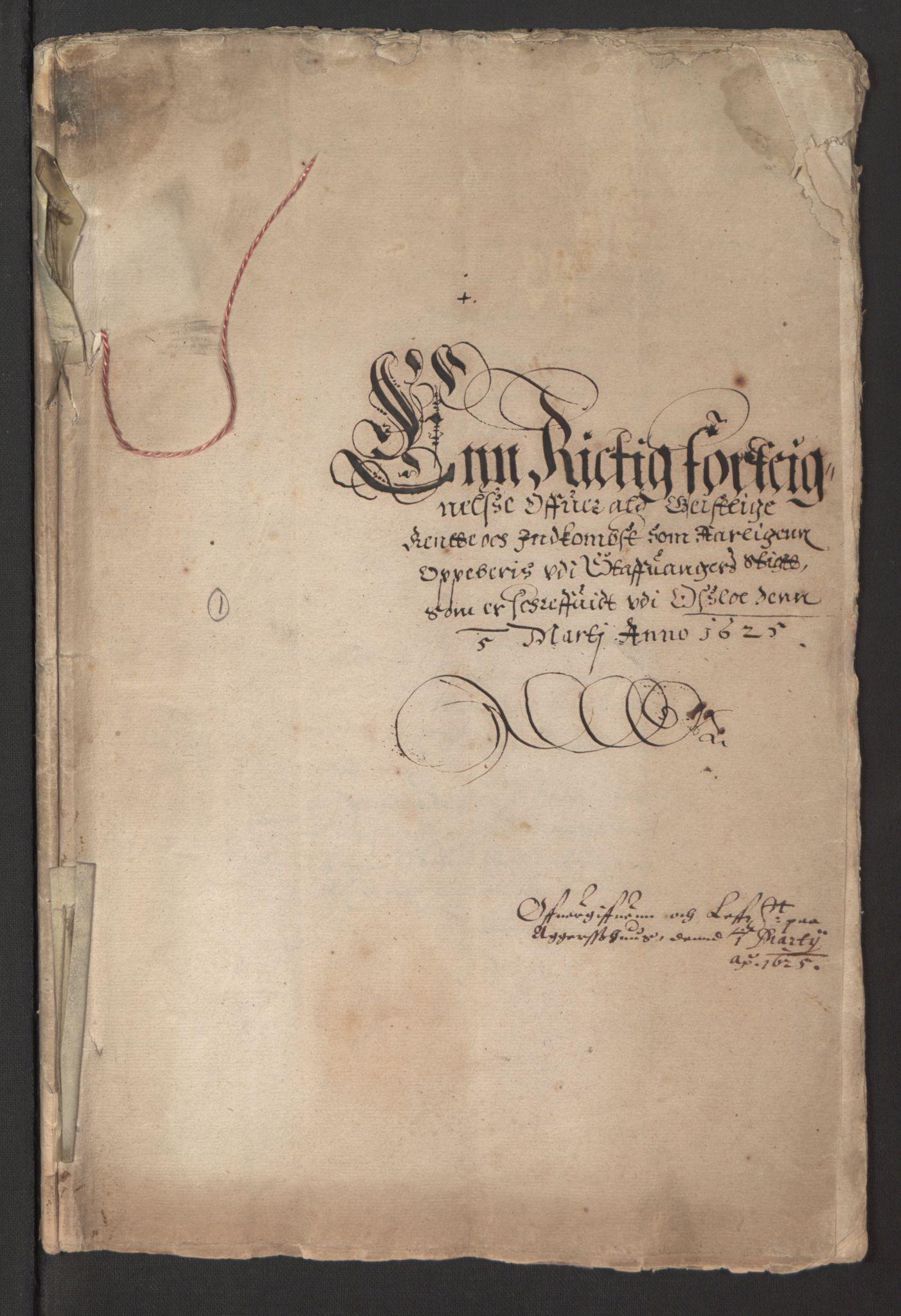 RA, Stattholderembetet 1572-1771, Ek/L0014: Jordebøker til utlikning av rosstjeneste 1624-1626:, 1625, s. 2