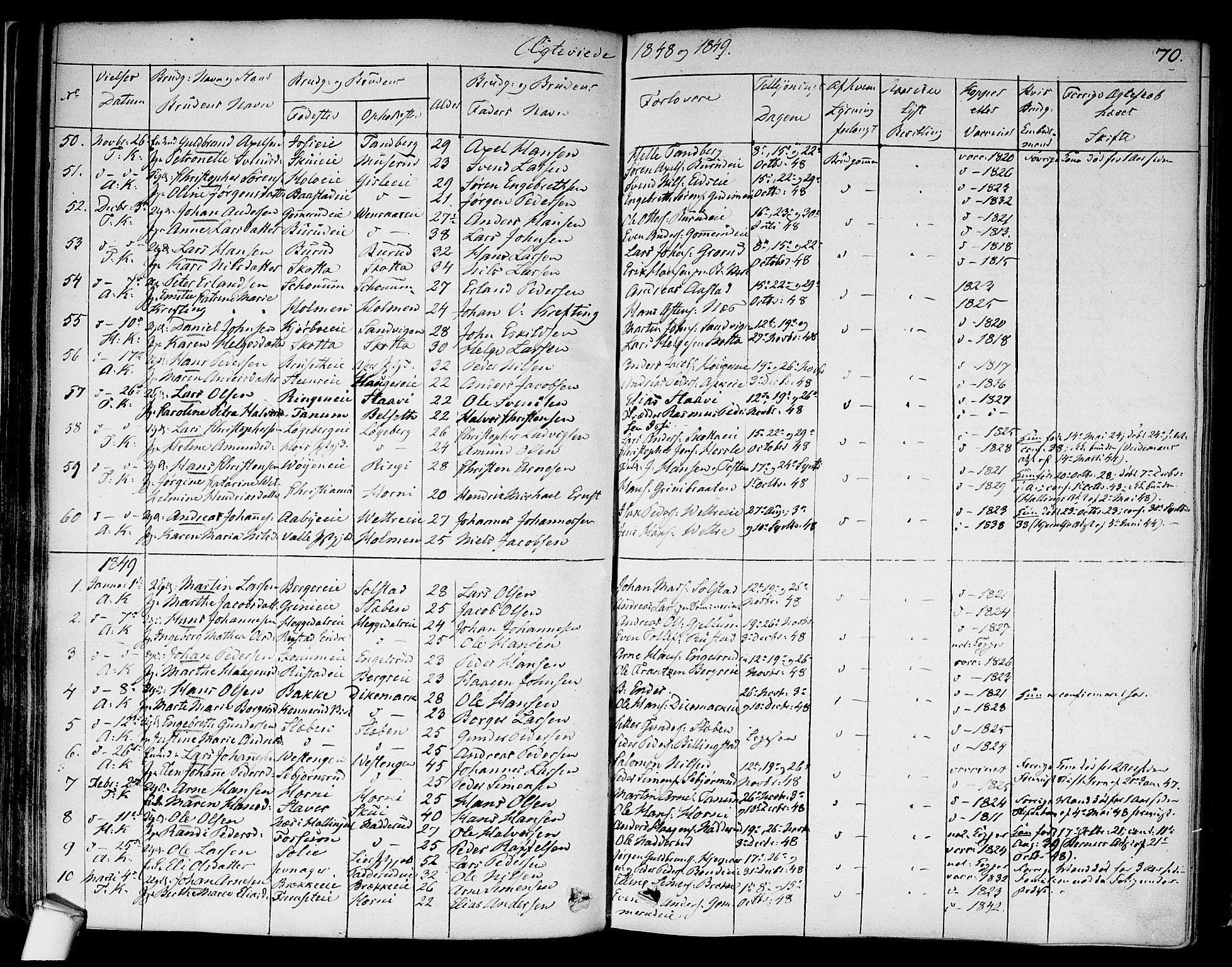 SAO, Asker prestekontor Kirkebøker, F/Fa/L0010: Ministerialbok nr. I 10, 1825-1878, s. 70