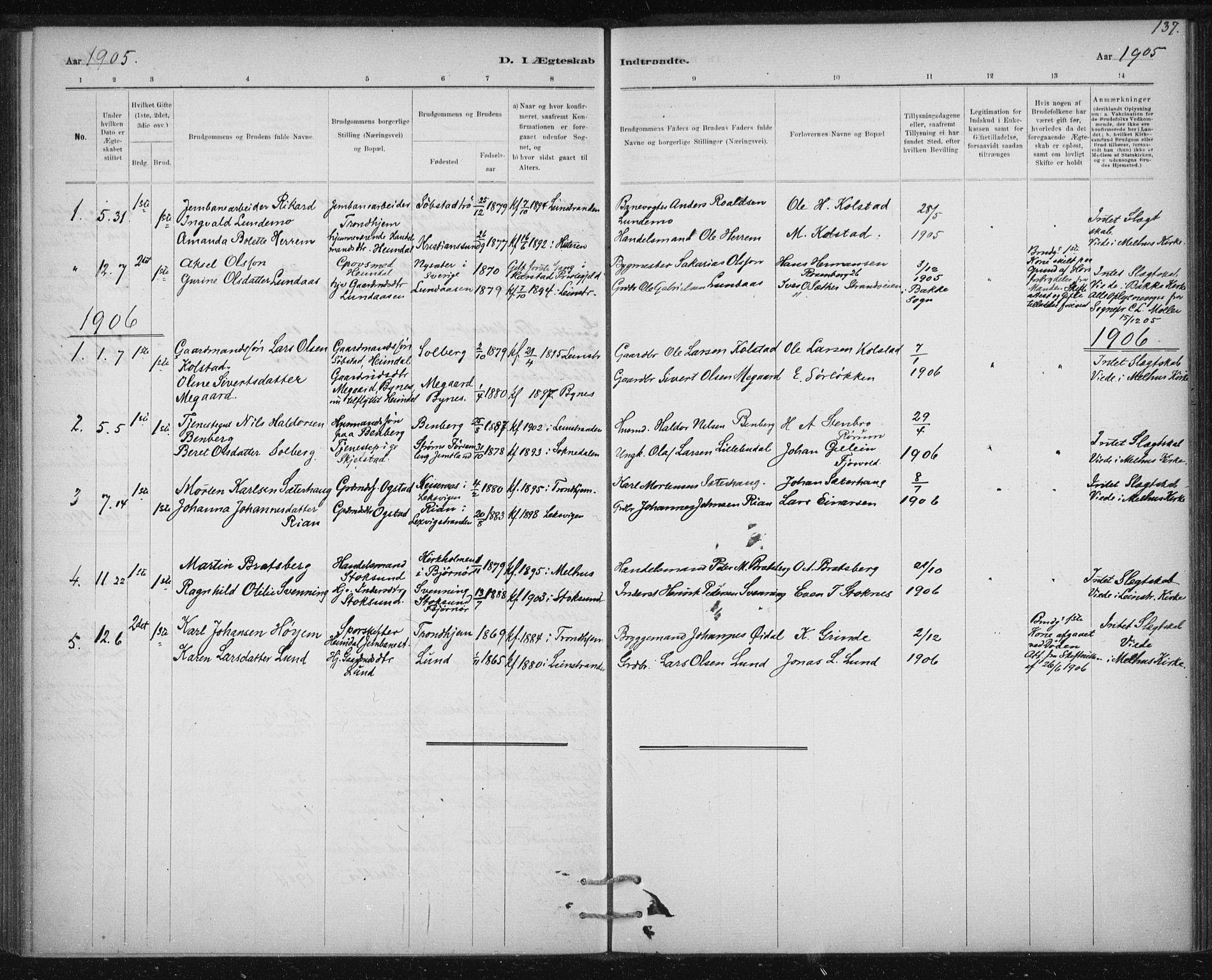 SAT, Ministerialprotokoller, klokkerbøker og fødselsregistre - Sør-Trøndelag, 613/L0392: Ministerialbok nr. 613A01, 1887-1906, s. 137