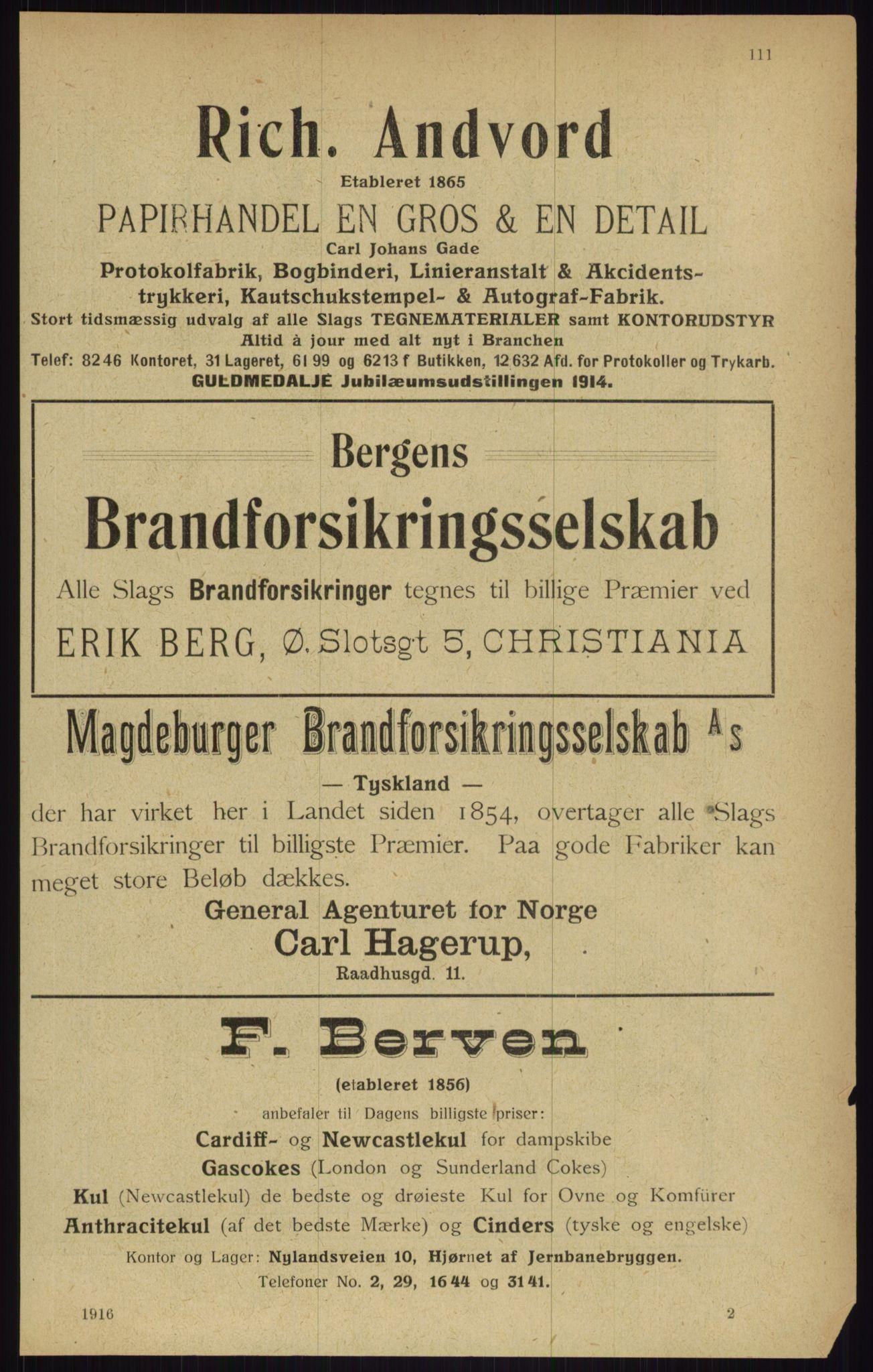 RA, Kristiania adressebok (publikasjon)*, 1916, s. 111