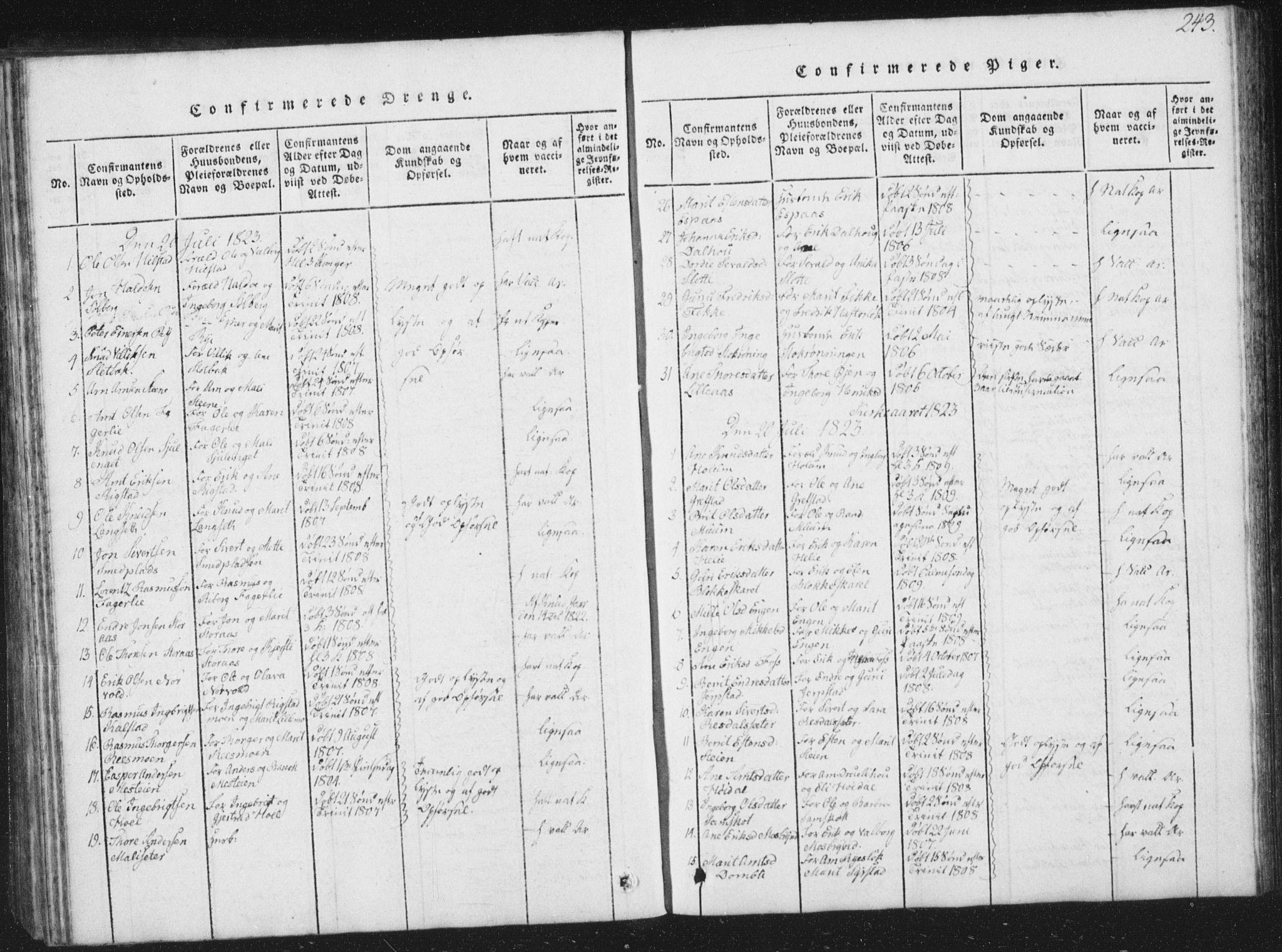 SAT, Ministerialprotokoller, klokkerbøker og fødselsregistre - Sør-Trøndelag, 672/L0862: Klokkerbok nr. 672C01, 1816-1831, s. 243