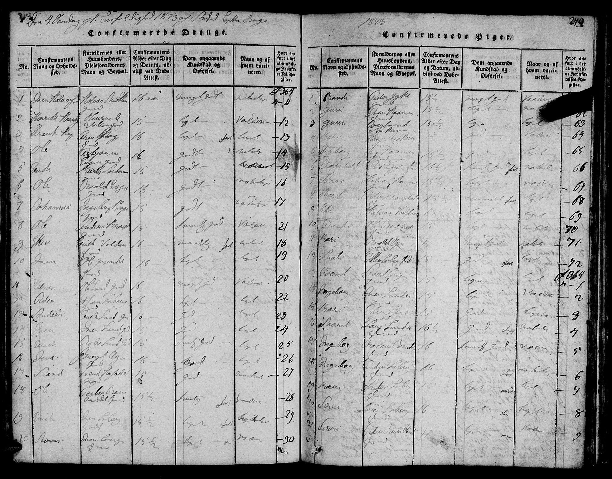 SAT, Ministerialprotokoller, klokkerbøker og fødselsregistre - Sør-Trøndelag, 692/L1102: Ministerialbok nr. 692A02, 1816-1842, s. 249
