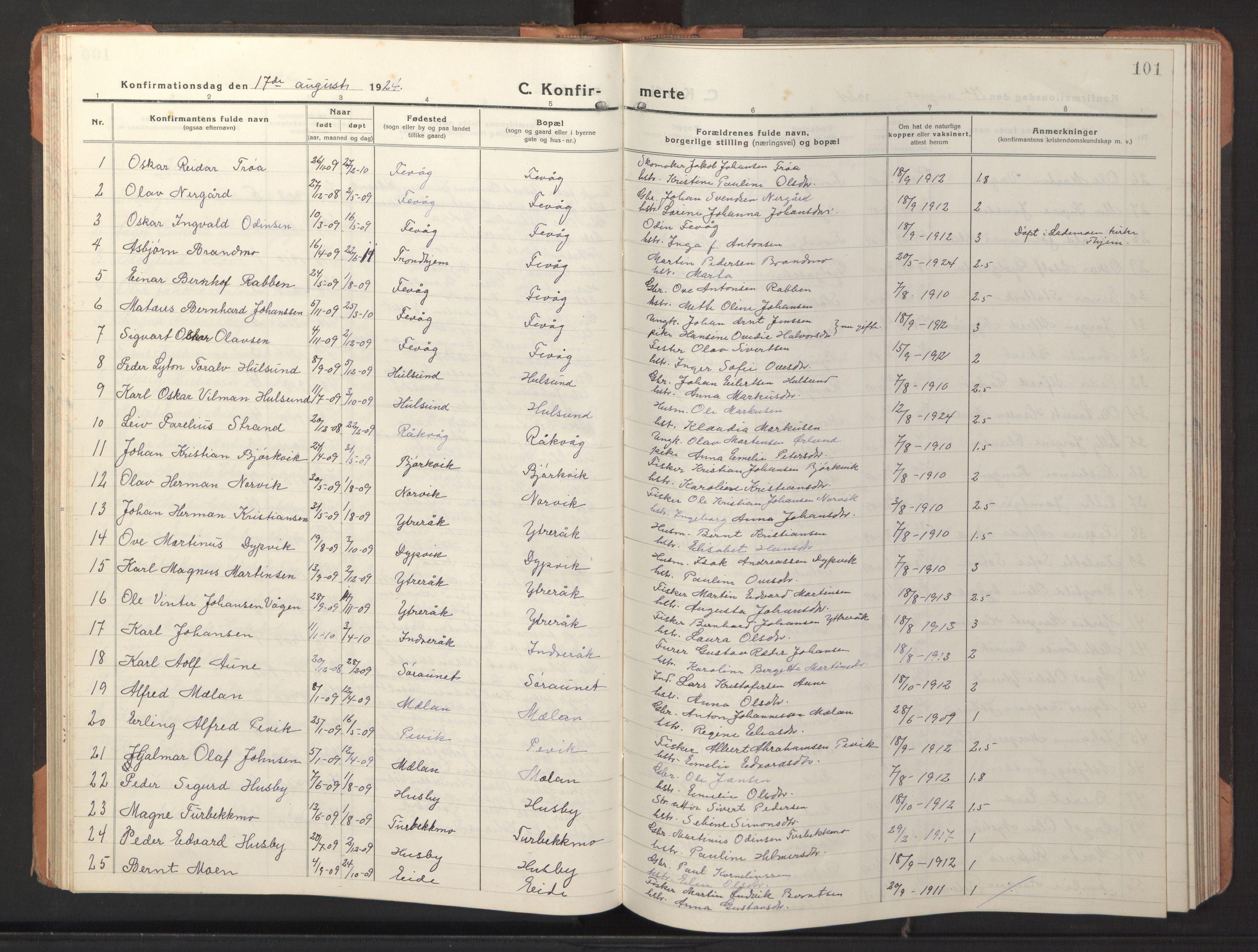 SAT, Ministerialprotokoller, klokkerbøker og fødselsregistre - Sør-Trøndelag, 653/L0658: Klokkerbok nr. 653C02, 1919-1947, s. 101