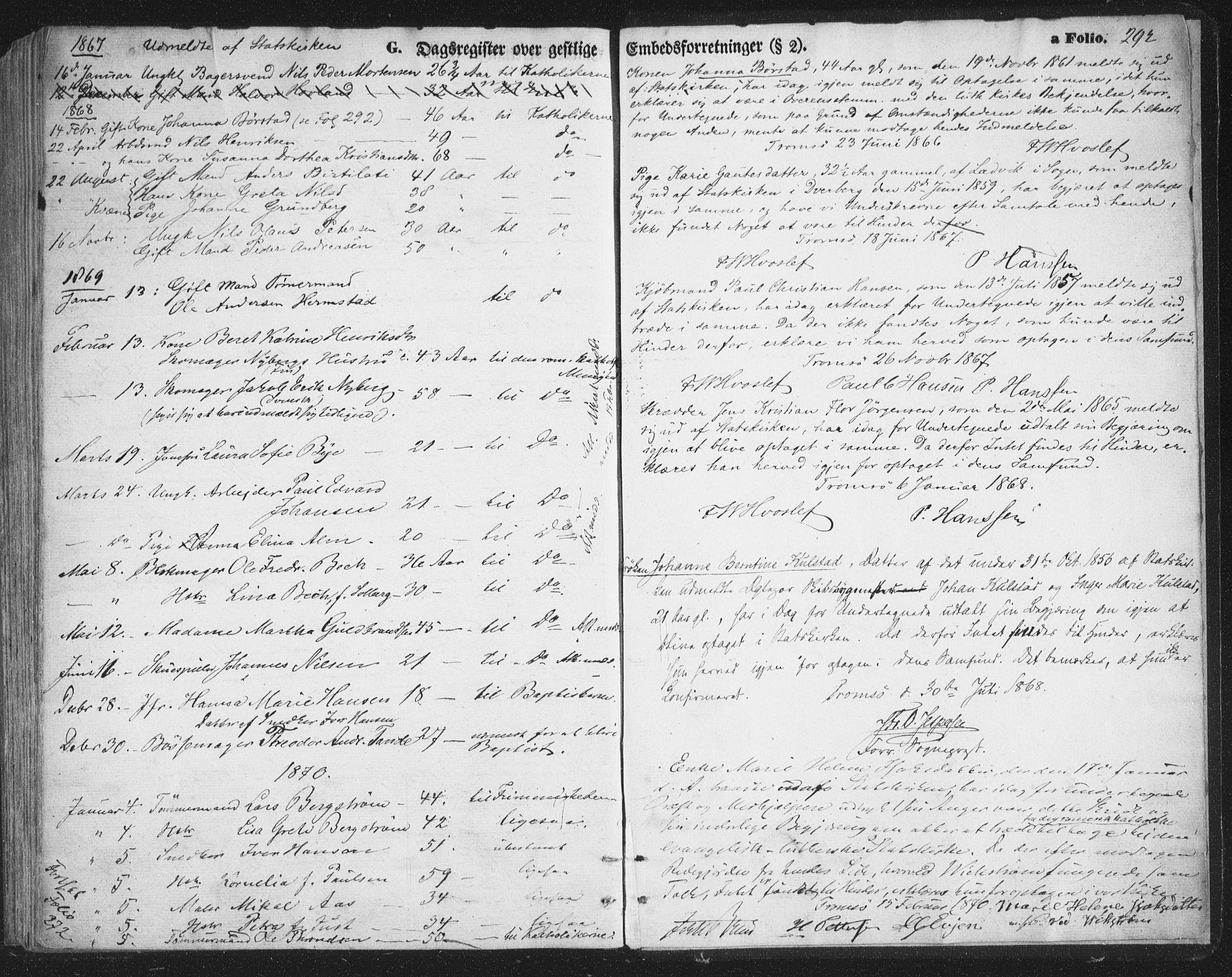 SATØ, Tromsø sokneprestkontor/stiftsprosti/domprosti, G/Ga/L0012kirke: Ministerialbok nr. 12, 1865-1871, s. 292