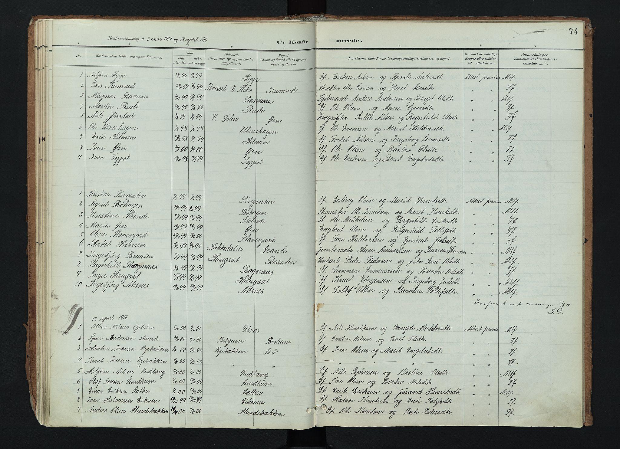 SAH, Nord-Aurdal prestekontor, Ministerialbok nr. 17, 1897-1926, s. 74