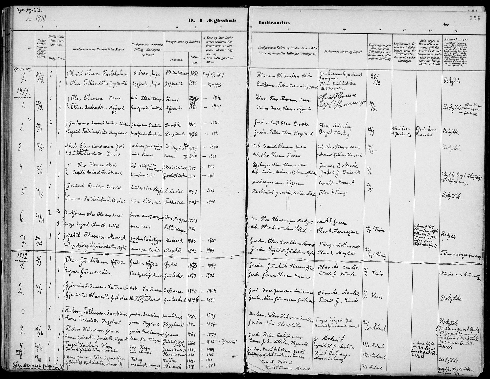 SAKO, Fyresdal kirkebøker, F/Fa/L0007: Ministerialbok nr. I 7, 1887-1914, s. 159