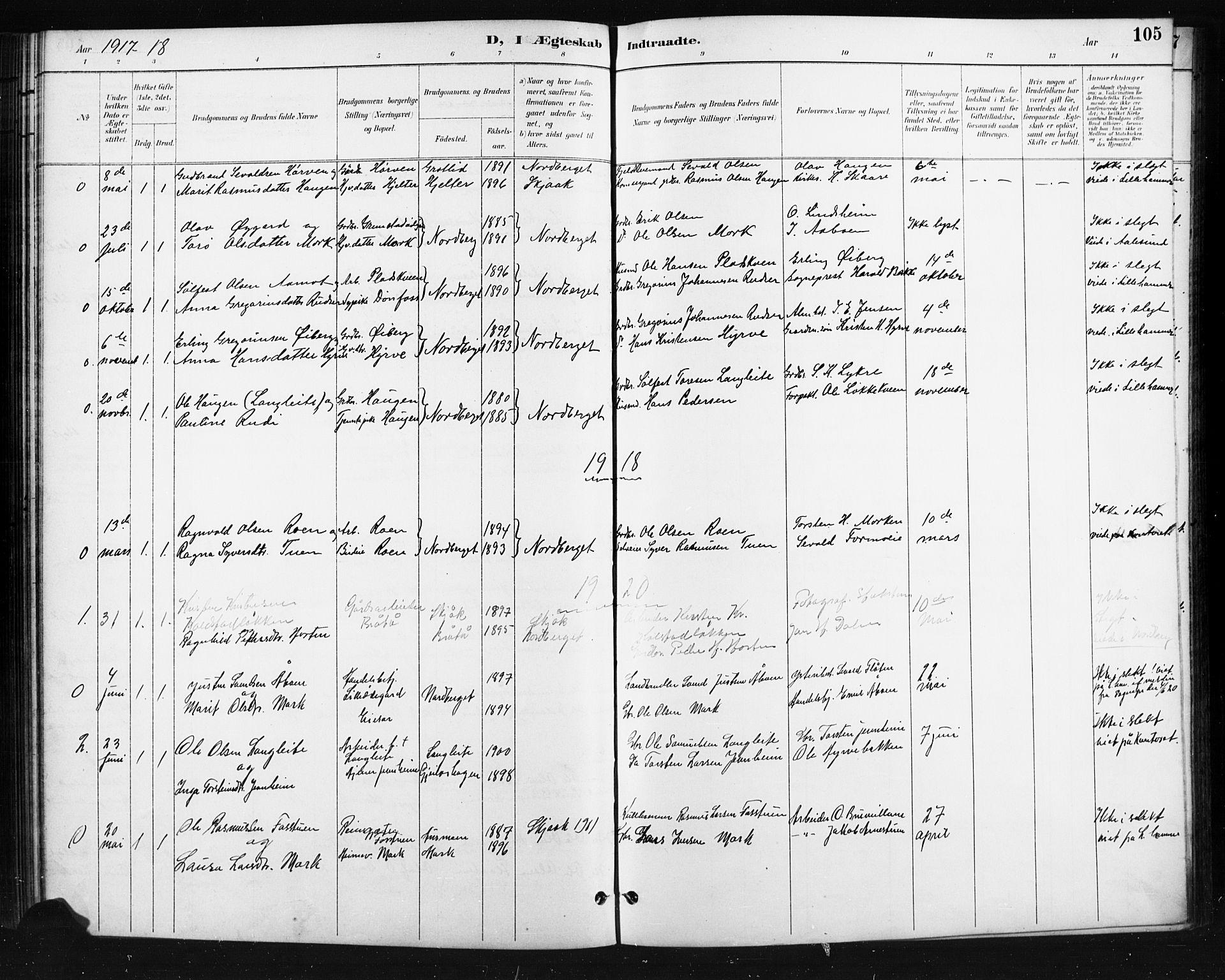 SAH, Skjåk prestekontor, Klokkerbok nr. 4, 1895-1921, s. 105