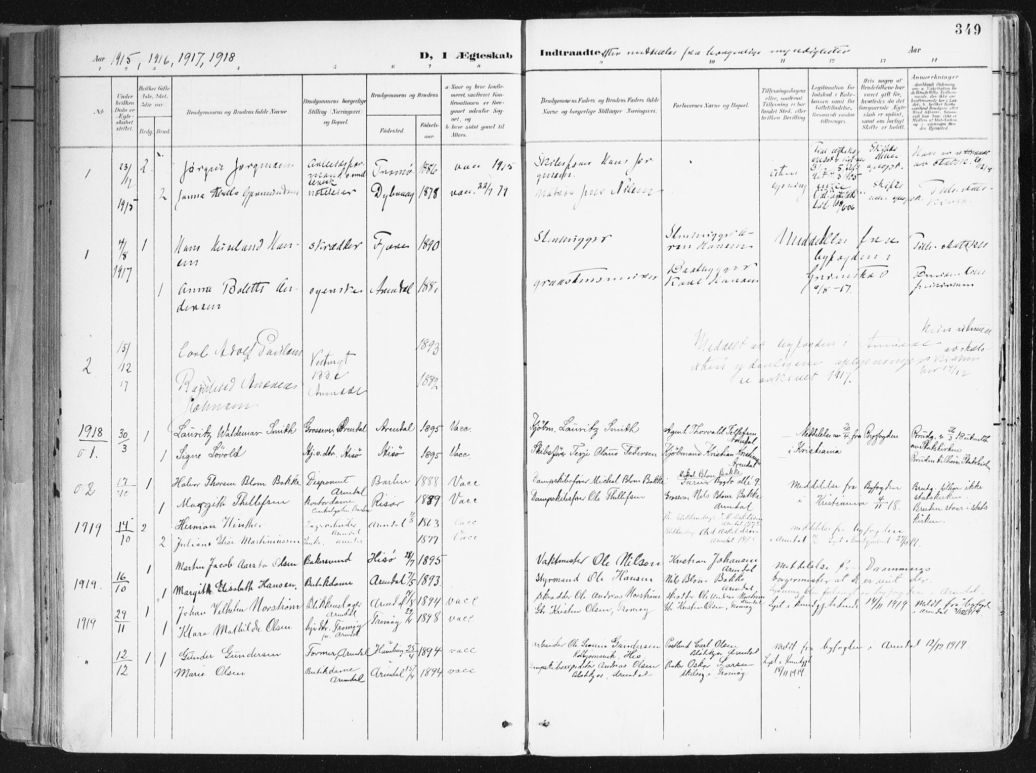 SAK, Arendal sokneprestkontor, Trefoldighet, F/Fa/L0010: Ministerialbok nr. A 10, 1900-1919, s. 349