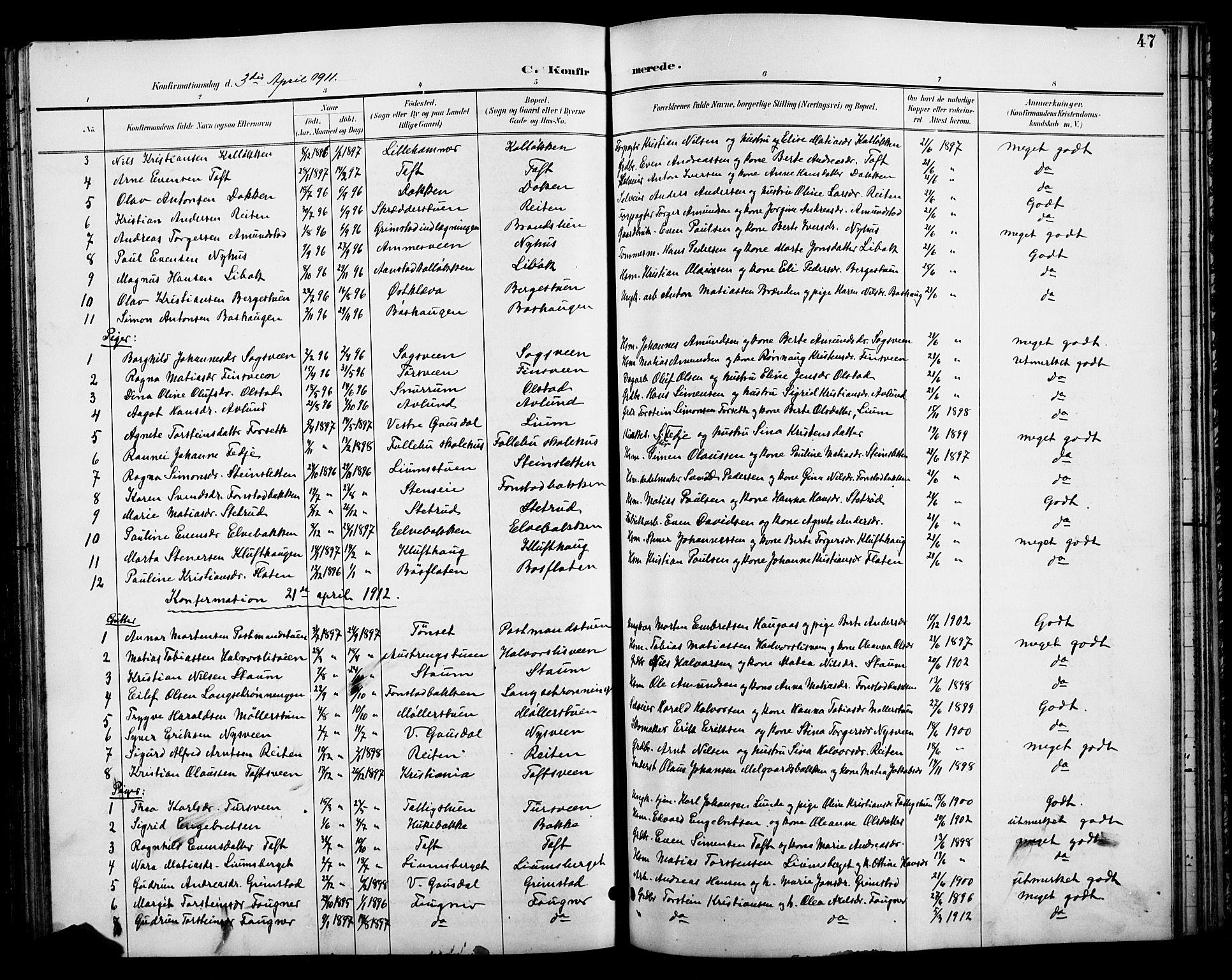 SAH, Østre Gausdal prestekontor, Klokkerbok nr. 3, 1894-1915, s. 47