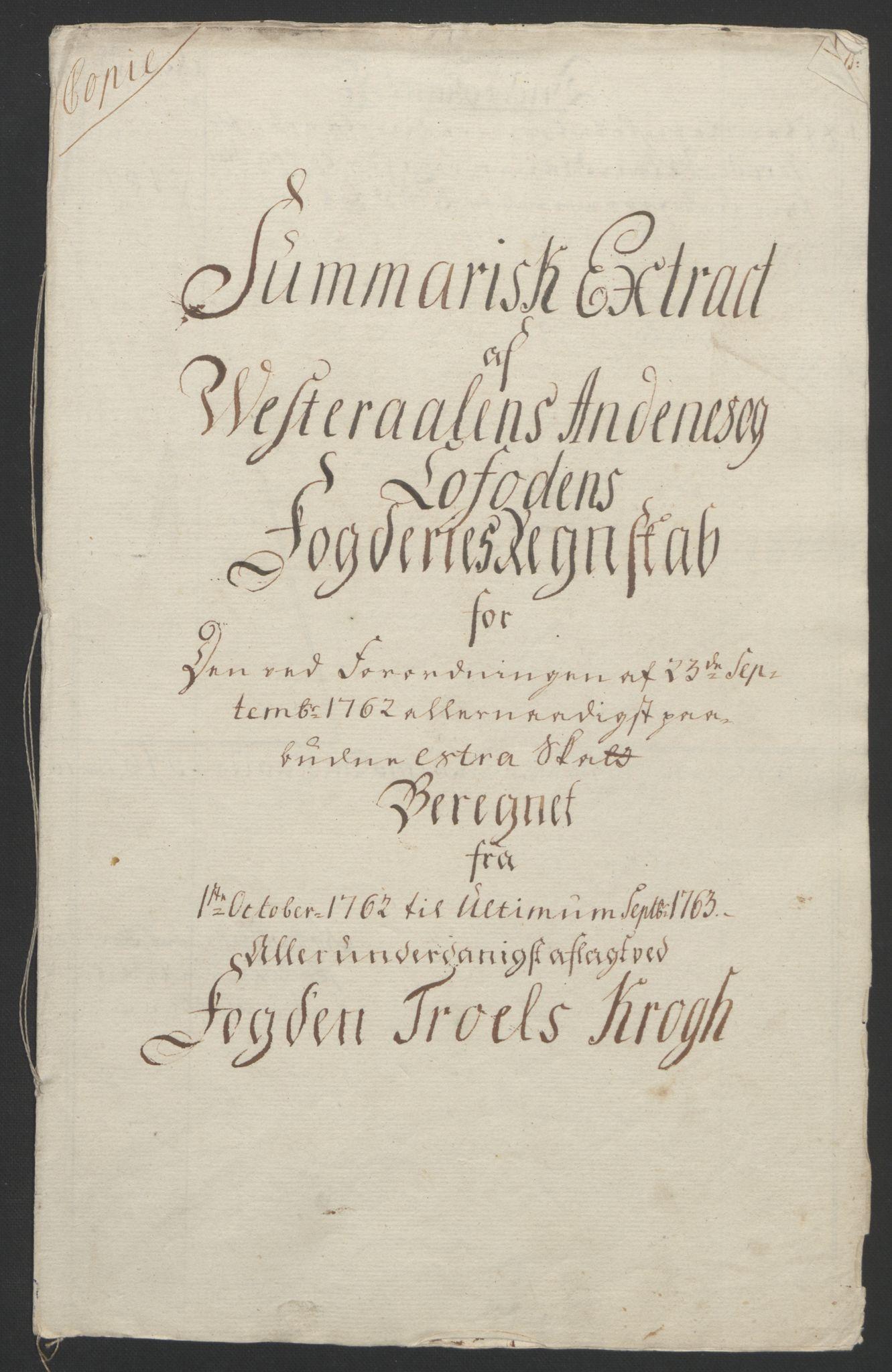 RA, Rentekammeret inntil 1814, Reviderte regnskaper, Fogderegnskap, R67/L4747: Ekstraskatten Vesterålen, Andenes og Lofoten, 1762-1766, s. 35