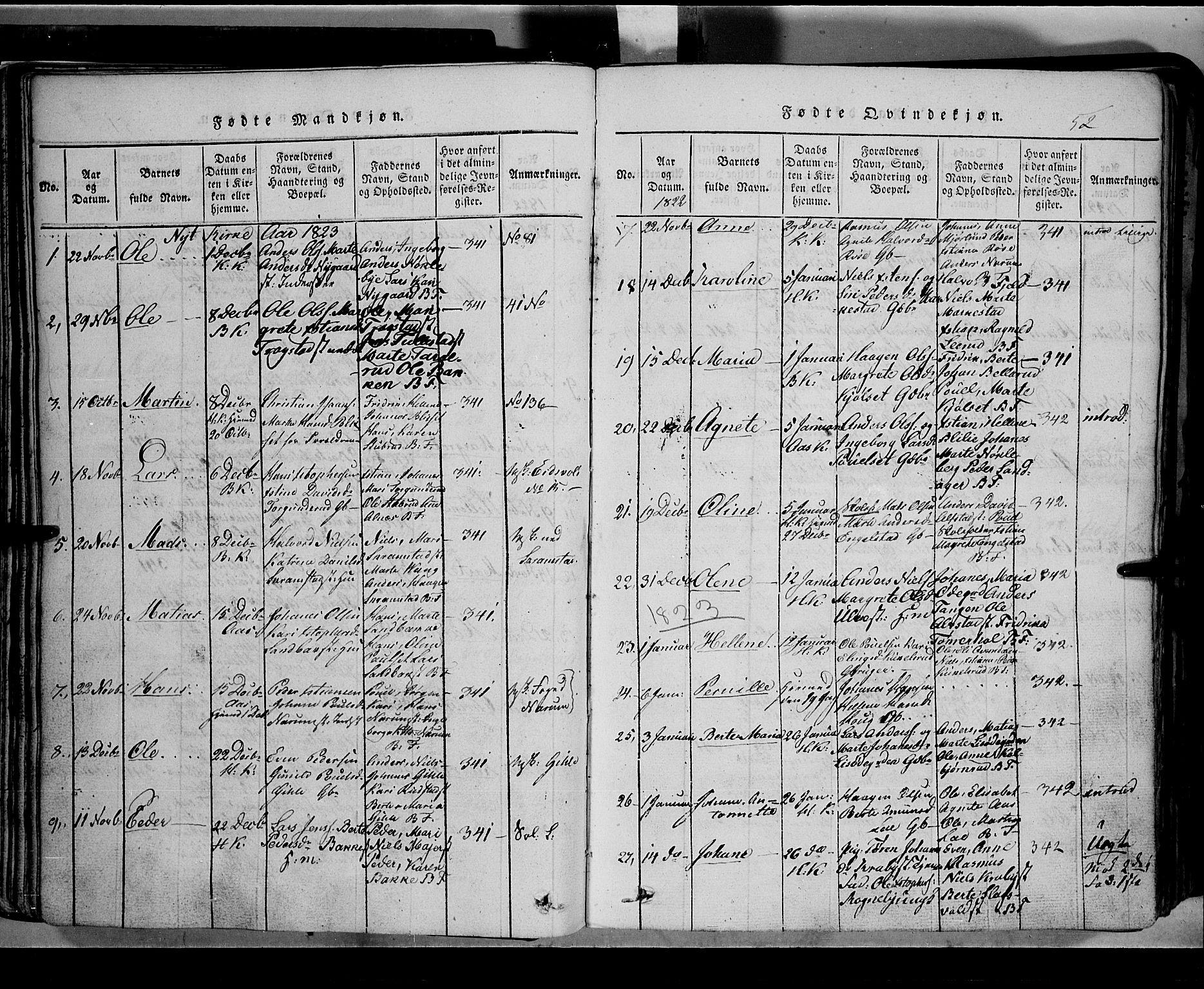 SAH, Toten prestekontor, Klokkerbok nr. 2, 1820-1827, s. 52