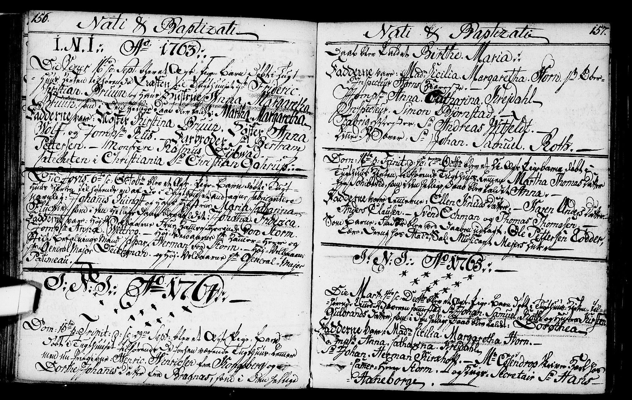 SAO, Kristiania tukthusprest Kirkebøker, F/Fa/L0001: Ministerialbok nr. 1, 1758-1828, s. 156-157