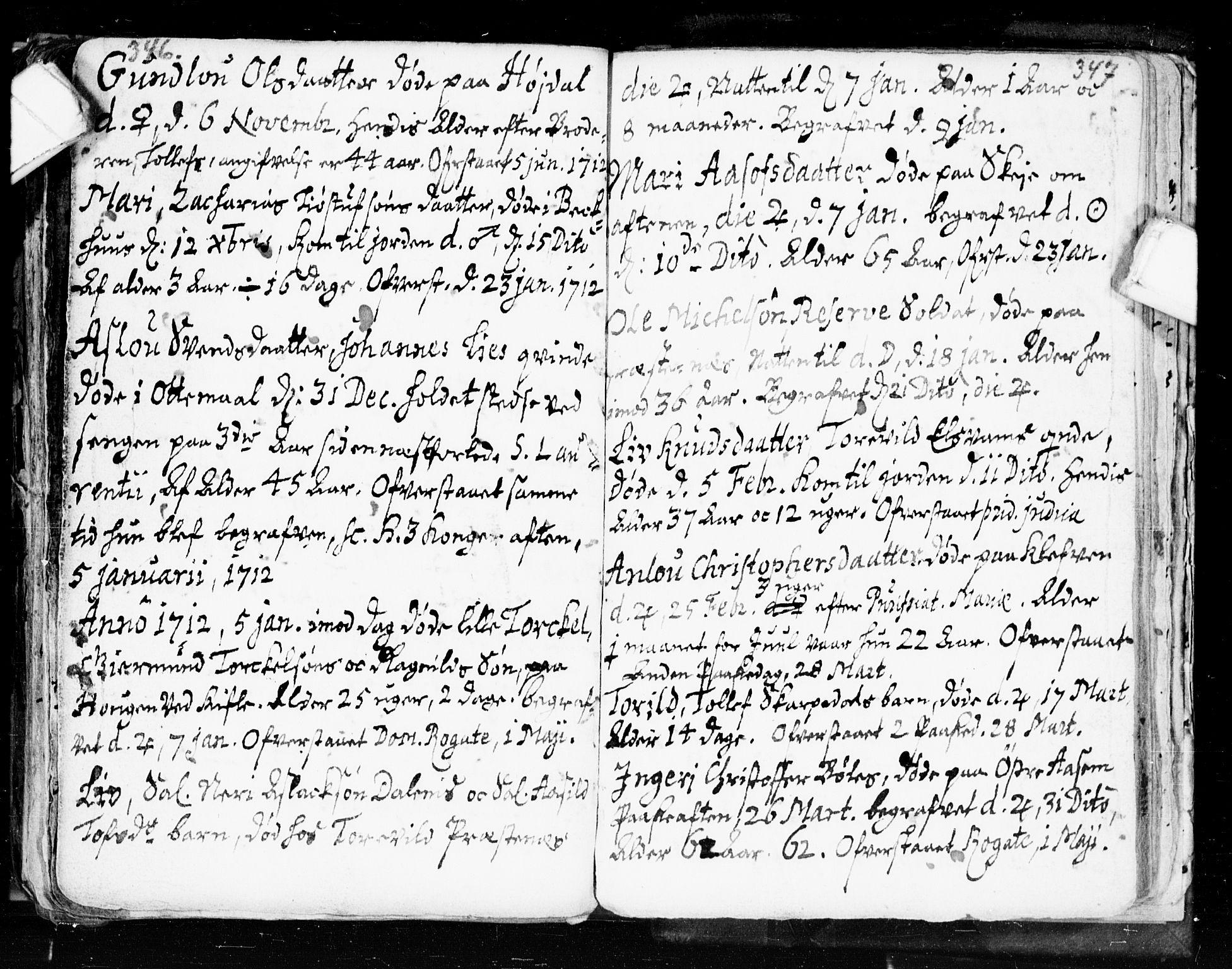 SAKO, Seljord kirkebøker, F/Fa/L0002: Ministerialbok nr. I 2, 1689-1713, s. 346-347