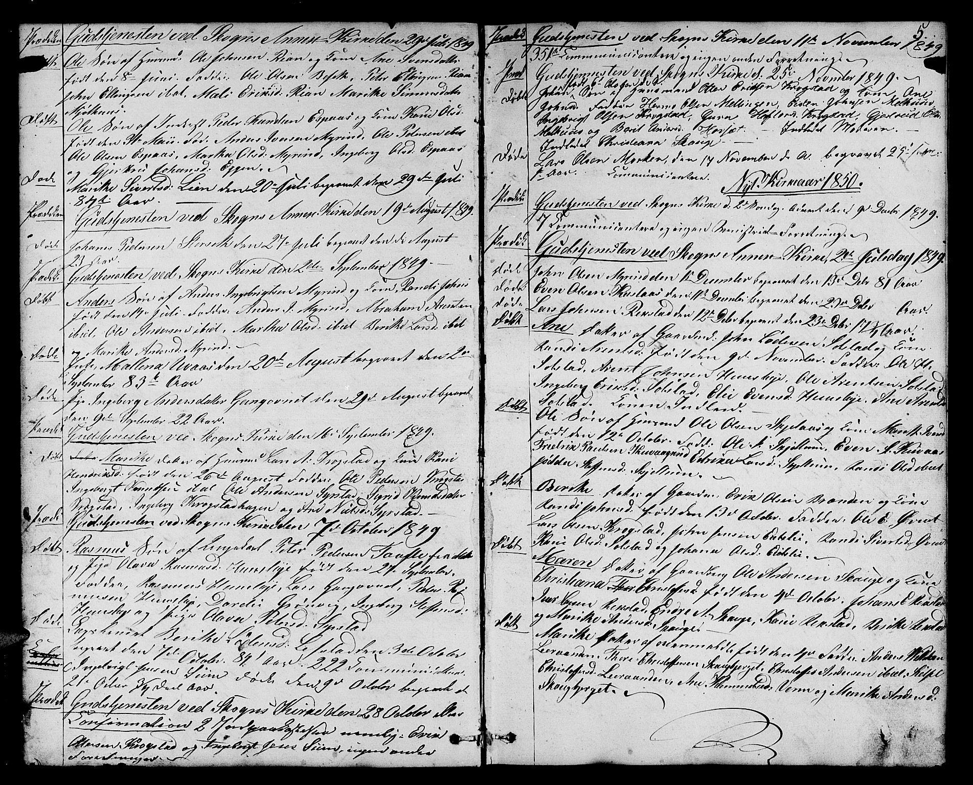 SAT, Ministerialprotokoller, klokkerbøker og fødselsregistre - Sør-Trøndelag, 667/L0797: Klokkerbok nr. 667C02, 1849-1867, s. 5