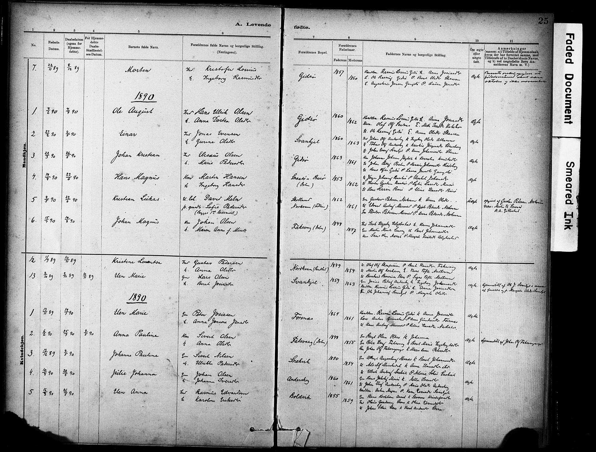 SAT, Ministerialprotokoller, klokkerbøker og fødselsregistre - Sør-Trøndelag, 635/L0551: Ministerialbok nr. 635A01, 1882-1899, s. 25
