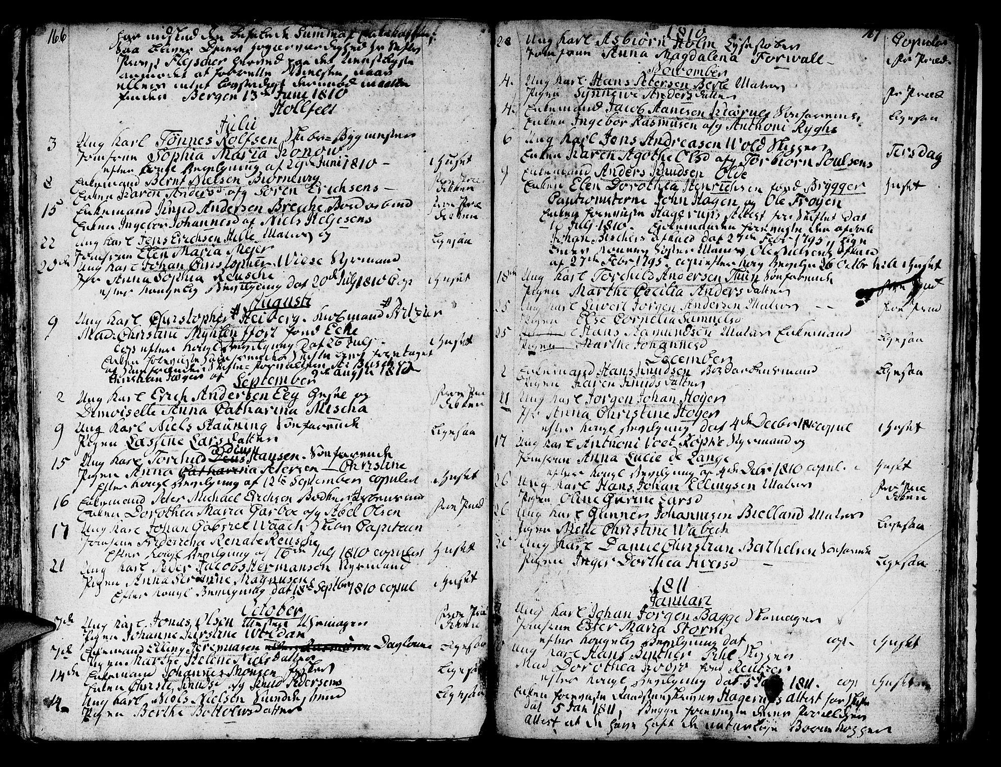 SAB, Domkirken sokneprestembete, H/Haa/L0007: Ministerialbok nr. A 7, 1725-1826, s. 166-167