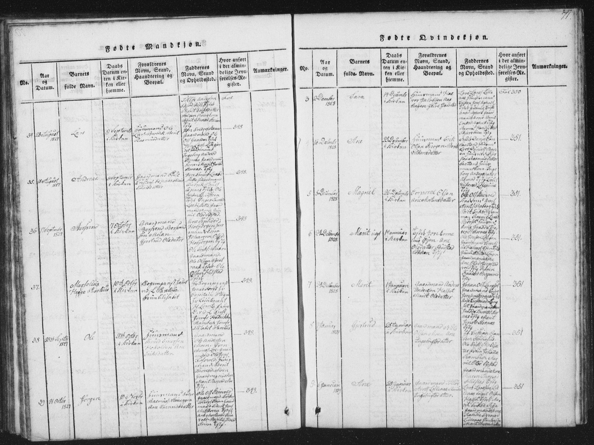 SAT, Ministerialprotokoller, klokkerbøker og fødselsregistre - Sør-Trøndelag, 672/L0862: Klokkerbok nr. 672C01, 1816-1831, s. 71