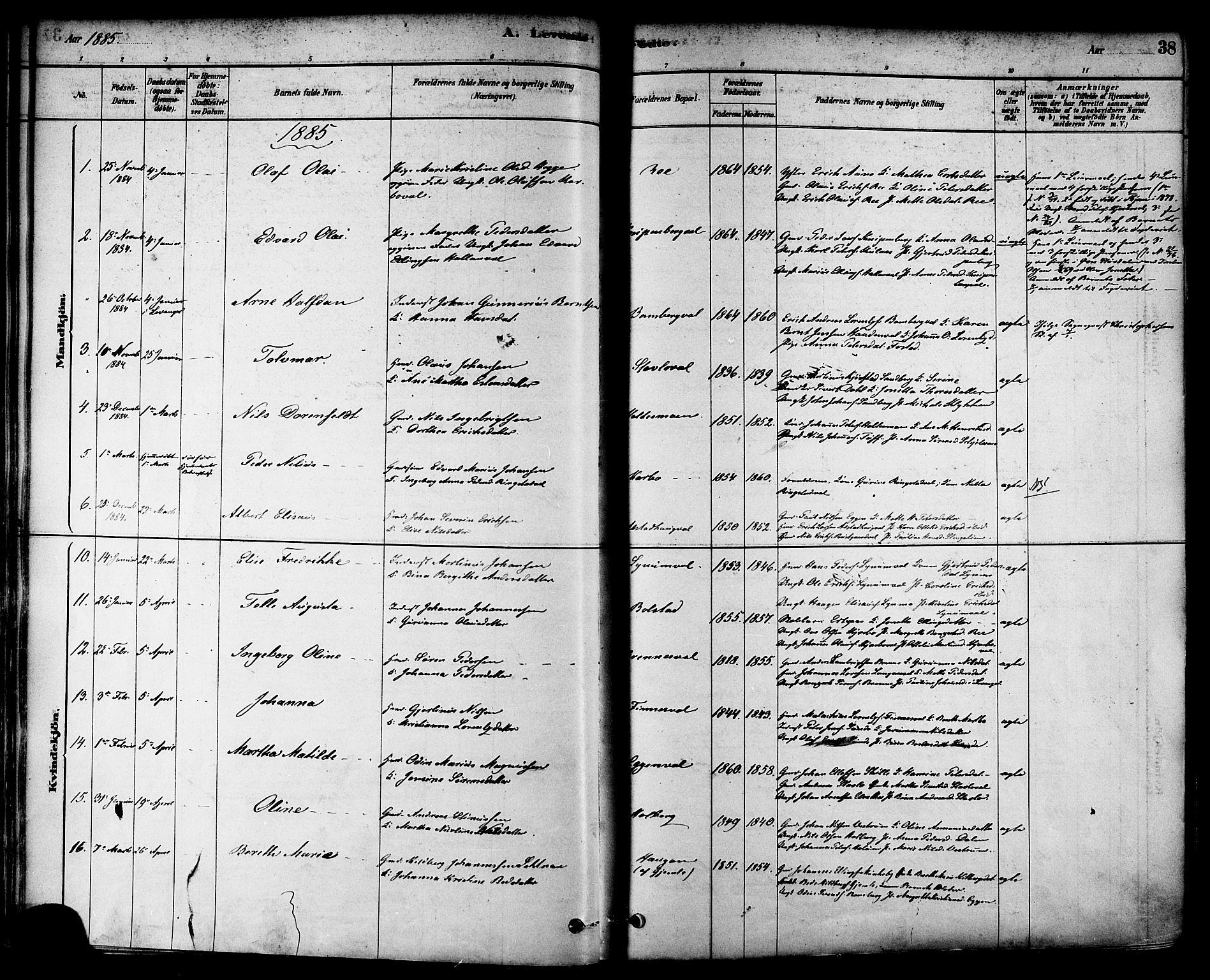 SAT, Ministerialprotokoller, klokkerbøker og fødselsregistre - Nord-Trøndelag, 717/L0159: Ministerialbok nr. 717A09, 1878-1898, s. 38