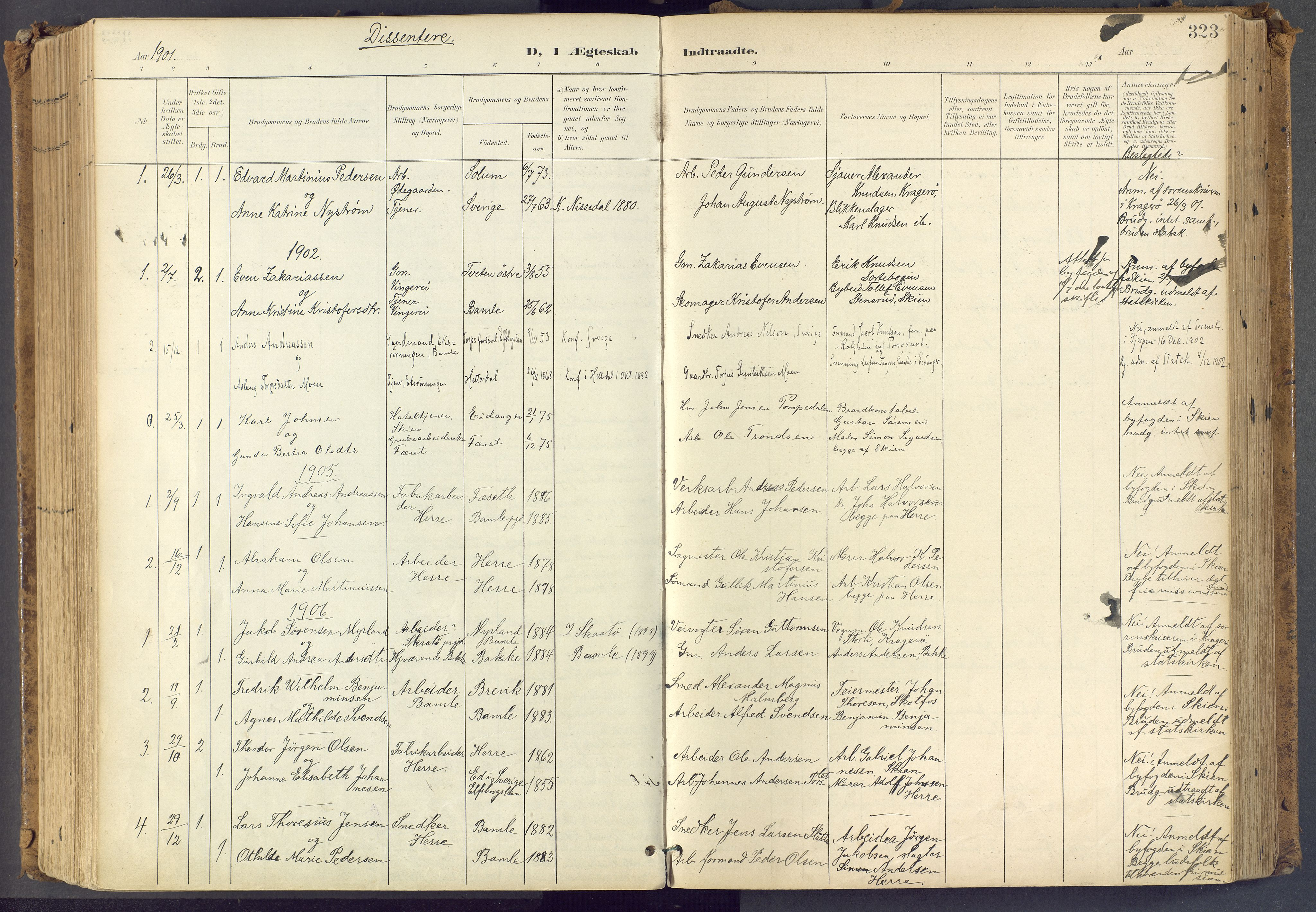 SAKO, Bamble kirkebøker, F/Fa/L0009: Ministerialbok nr. I 9, 1901-1917, s. 323