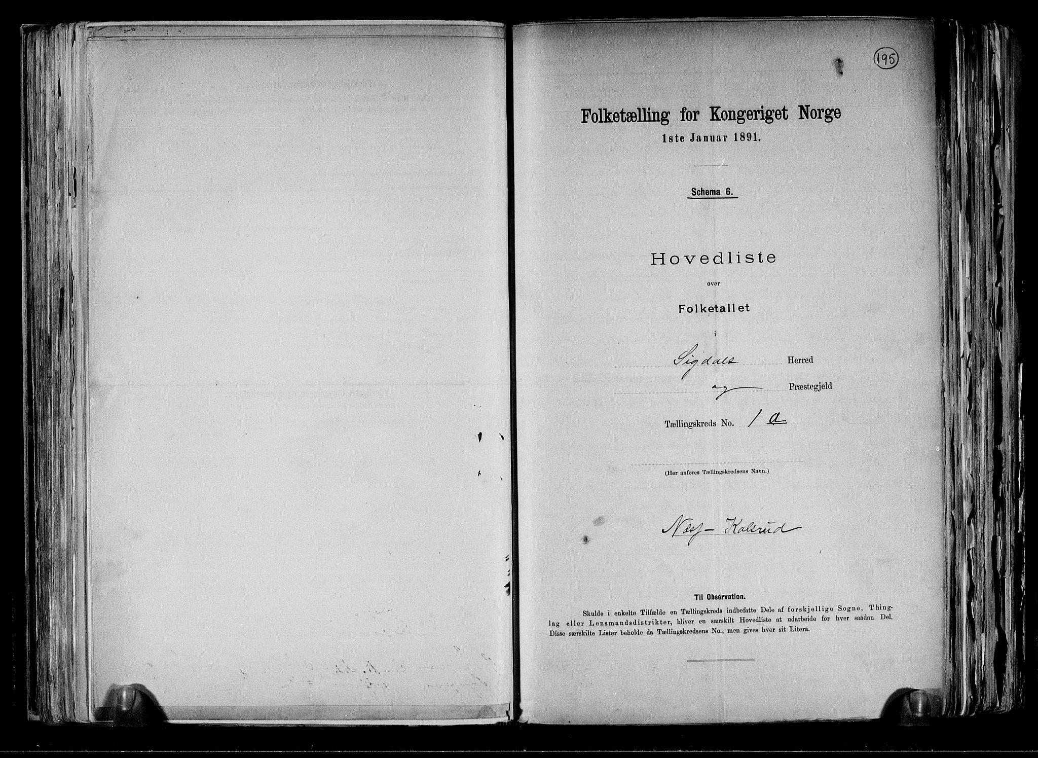 RA, Folketelling 1891 for 0621 Sigdal herred, 1891, s. 6