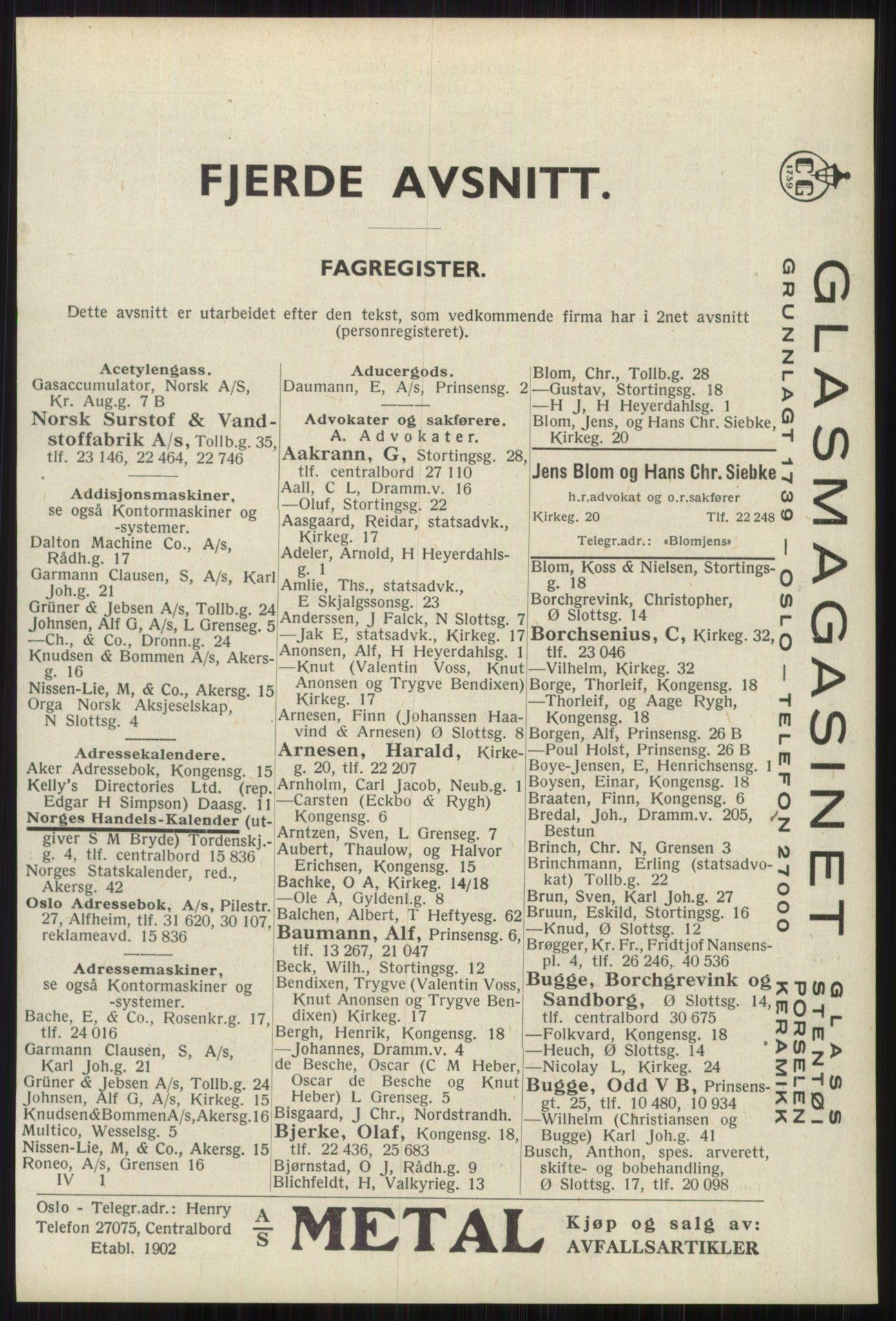 RA, Oslo adressebok (publikasjon)*, 1939, s. 2633