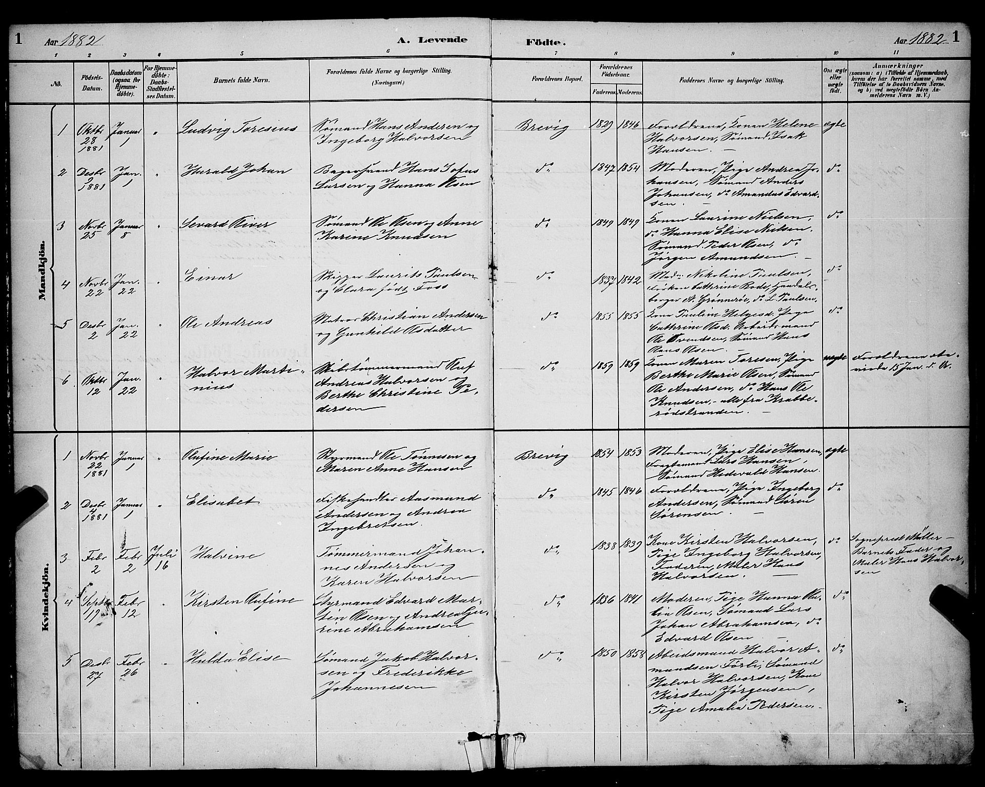 SAKO, Brevik kirkebøker, G/Ga/L0004: Klokkerbok nr. 4, 1882-1900, s. 1