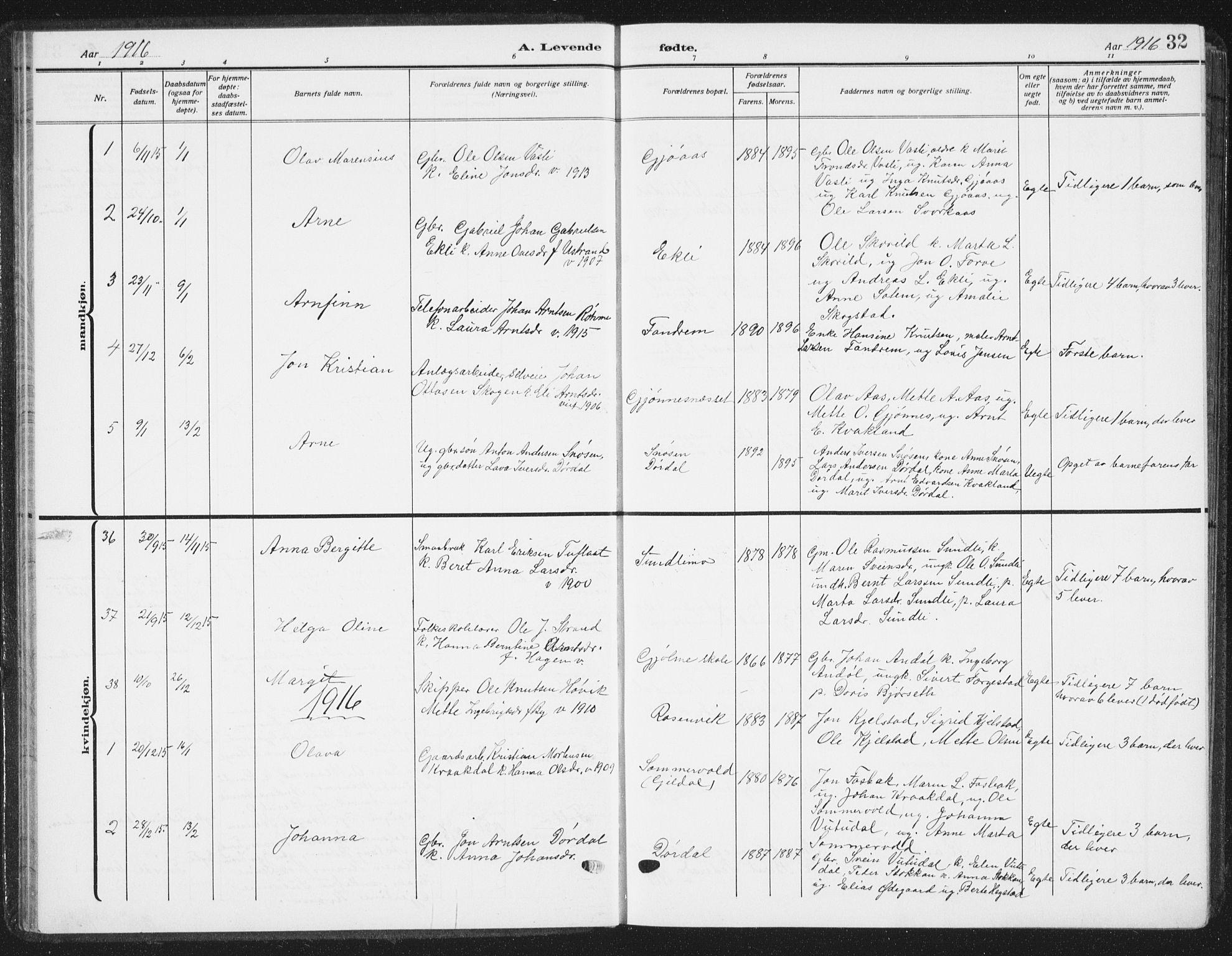 SAT, Ministerialprotokoller, klokkerbøker og fødselsregistre - Sør-Trøndelag, 668/L0820: Klokkerbok nr. 668C09, 1912-1936, s. 32