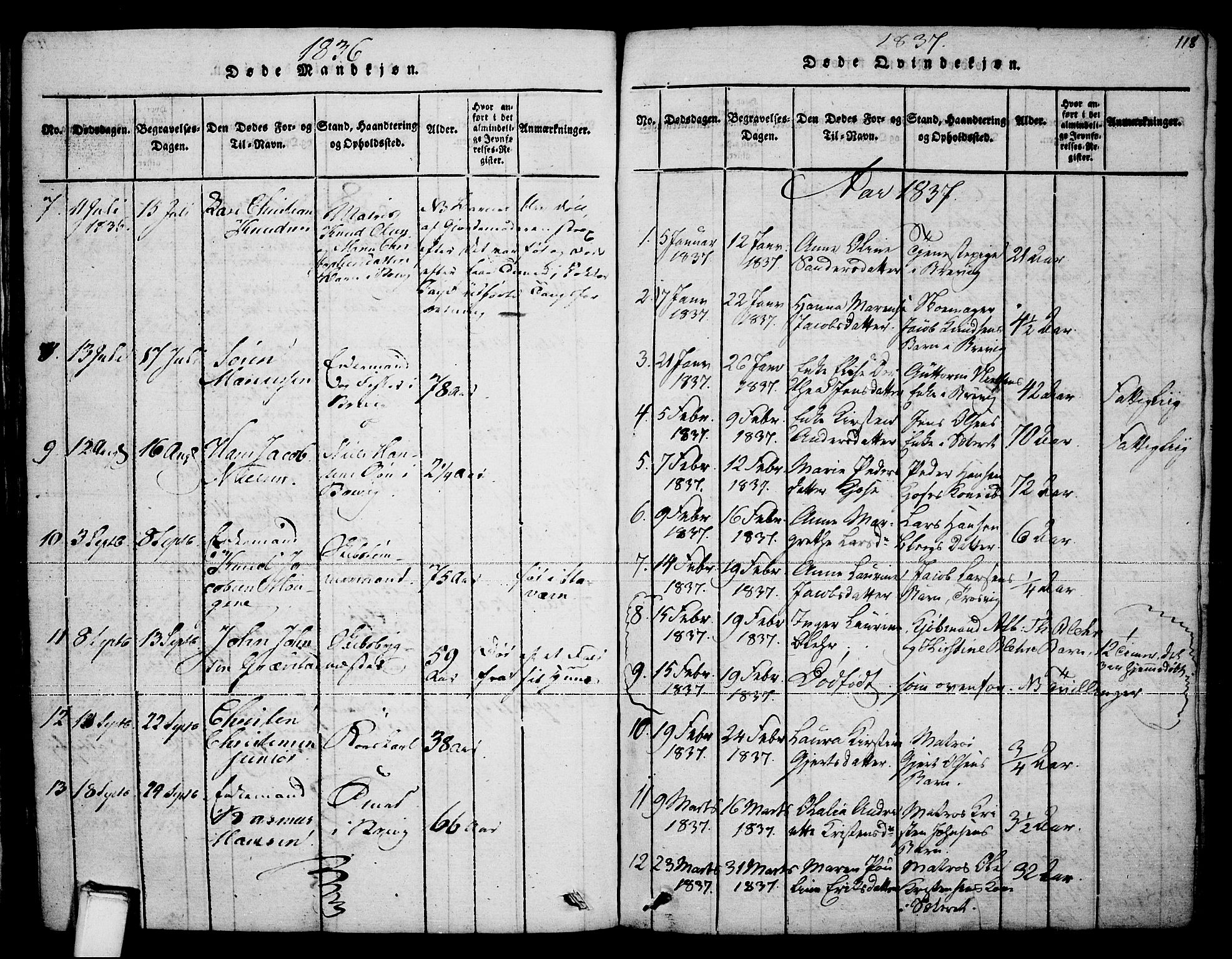 SAKO, Brevik kirkebøker, F/Fa/L0004: Ministerialbok nr. 4, 1814-1846, s. 118
