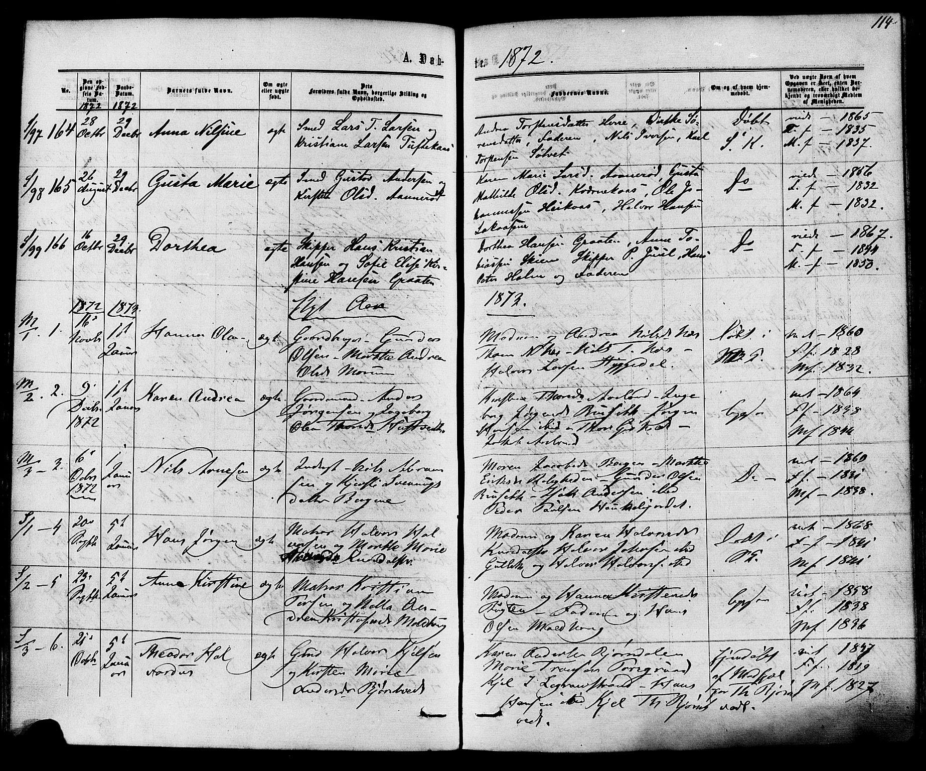 SAKO, Solum kirkebøker, F/Fa/L0008: Ministerialbok nr. I 8, 1865-1876, s. 114