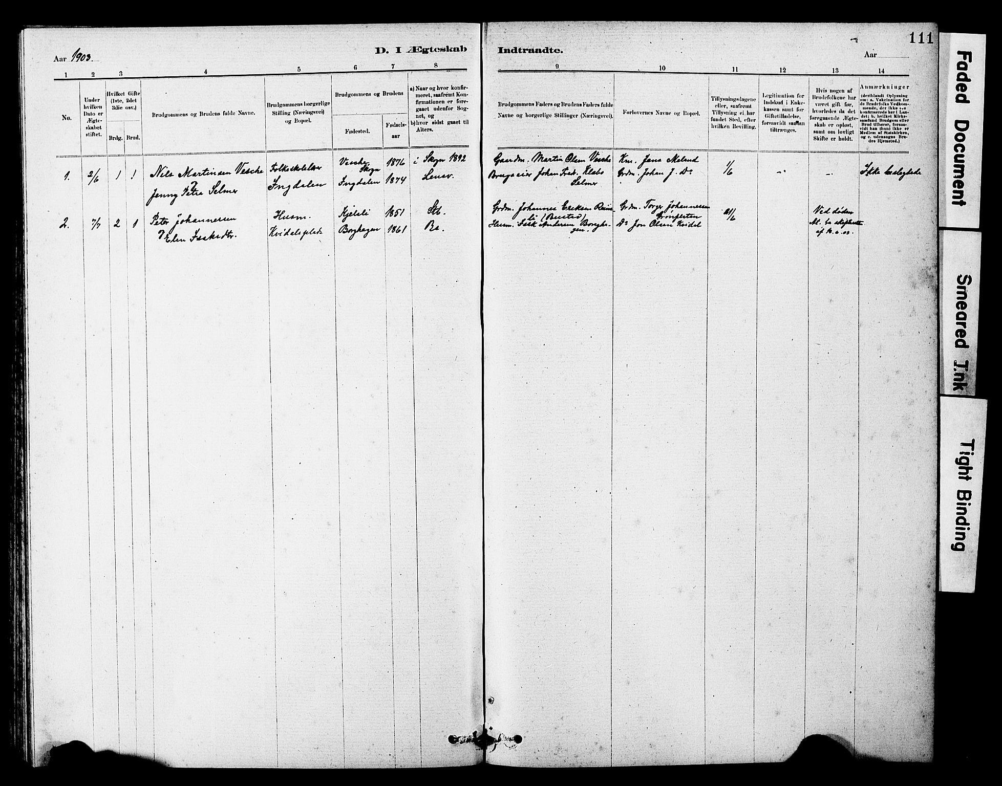 SAT, Ministerialprotokoller, klokkerbøker og fødselsregistre - Sør-Trøndelag, 646/L0628: Klokkerbok nr. 646C01, 1880-1903, s. 111