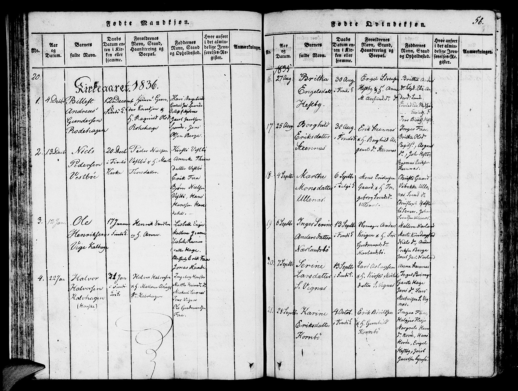SAST, Finnøy sokneprestkontor, H/Ha/Haa/L0006: Ministerialbok nr. A 6, 1816-1846, s. 56