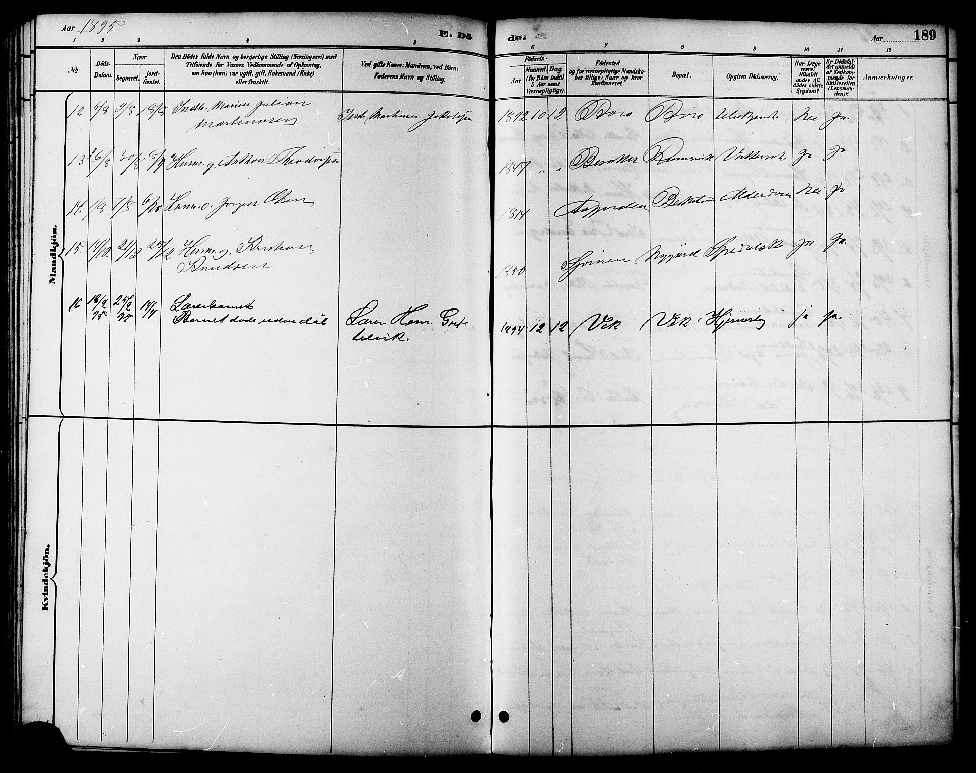SAT, Ministerialprotokoller, klokkerbøker og fødselsregistre - Sør-Trøndelag, 657/L0716: Klokkerbok nr. 657C03, 1889-1904, s. 189