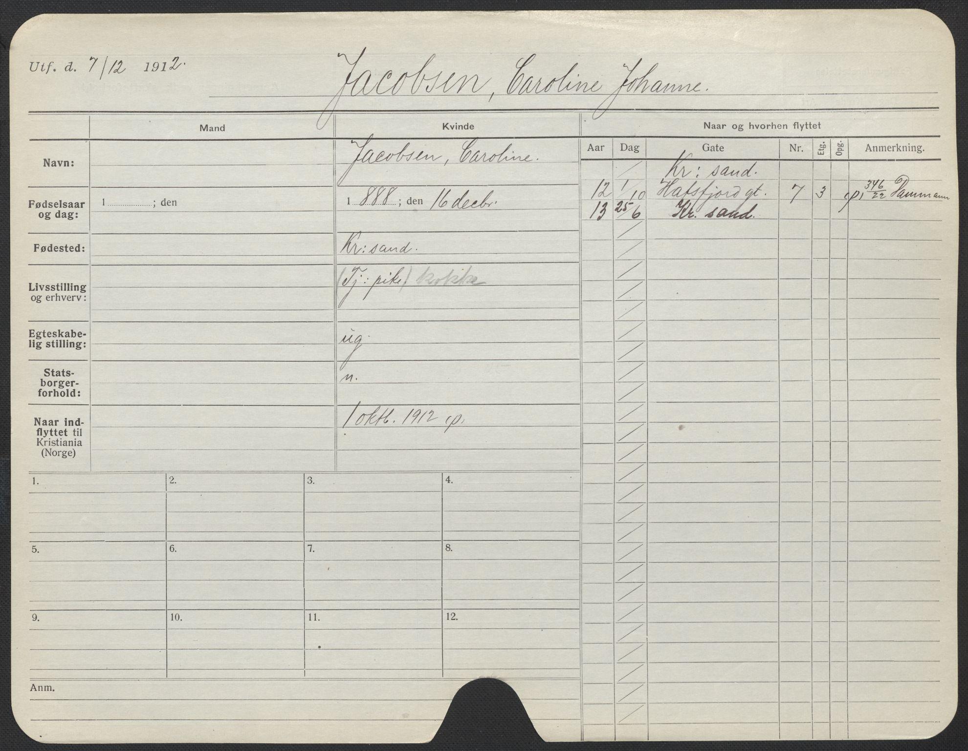 SAO, Oslo folkeregister, Registerkort, F/Fa/Fac/L0017: Kvinner, 1906-1914, s. 226a