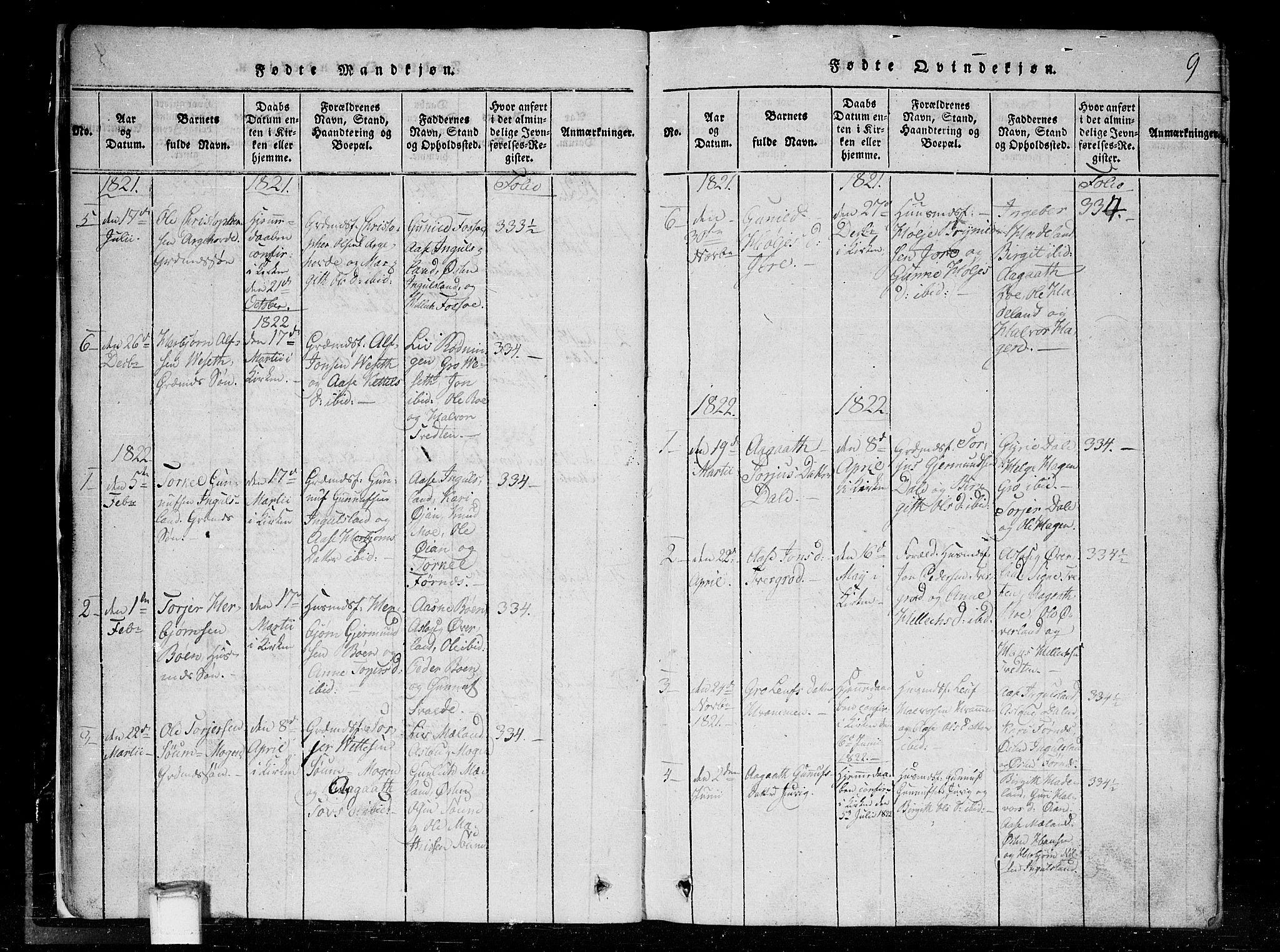 SAKO, Tinn kirkebøker, G/Gc/L0001: Klokkerbok nr. III 1, 1815-1879, s. 9