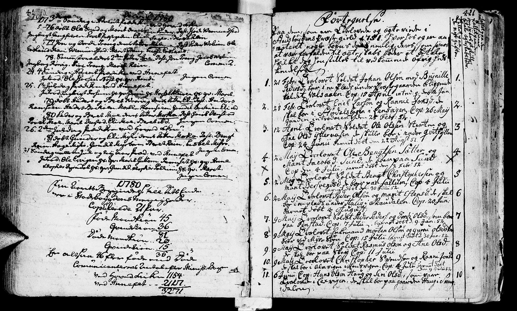 SAT, Ministerialprotokoller, klokkerbøker og fødselsregistre - Sør-Trøndelag, 646/L0605: Ministerialbok nr. 646A03, 1751-1790, s. 410b-411b