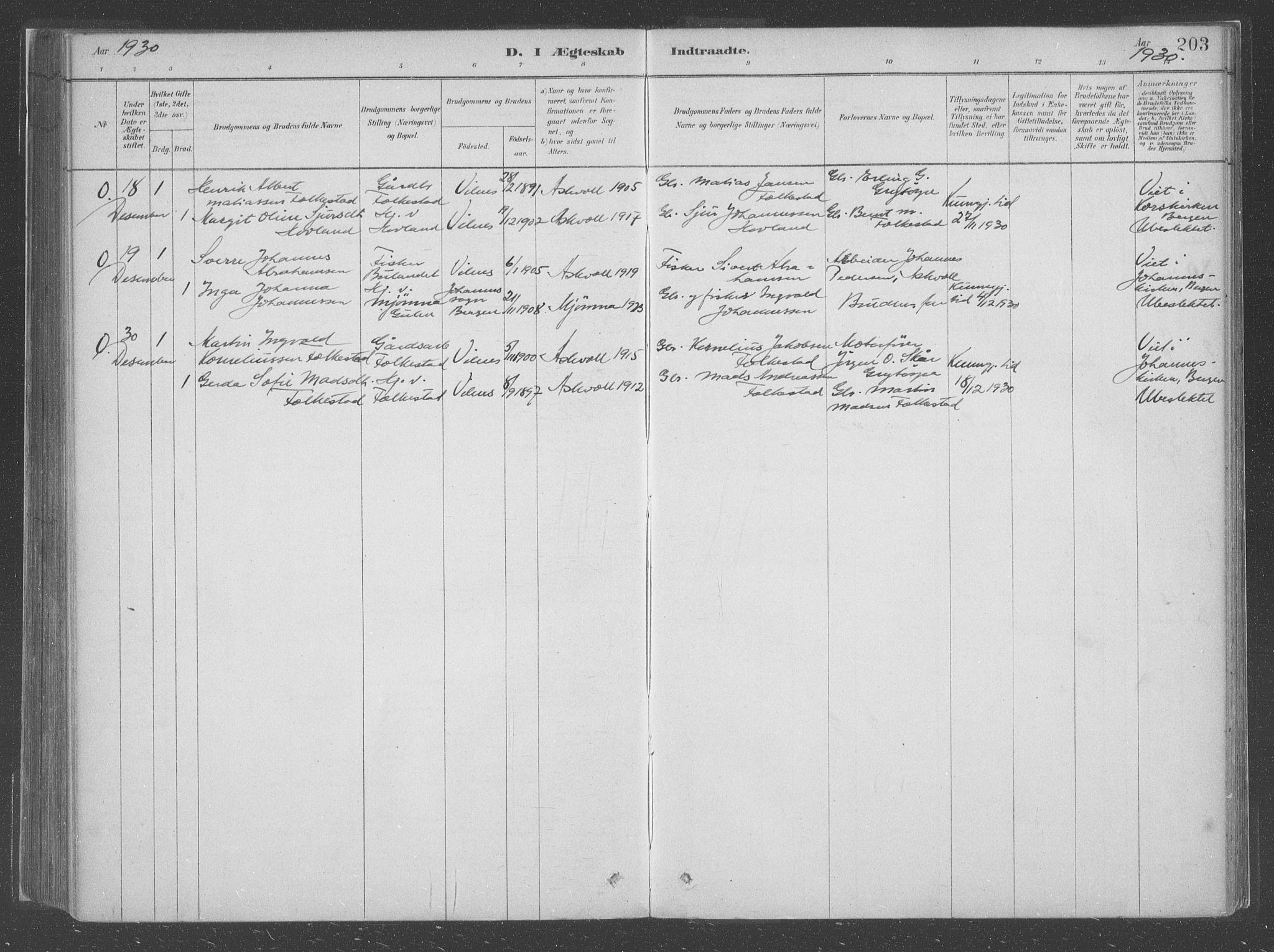 SAB, Askvoll Sokneprestembete, Ministerialbok nr. C  1, 1879-1922, s. 203