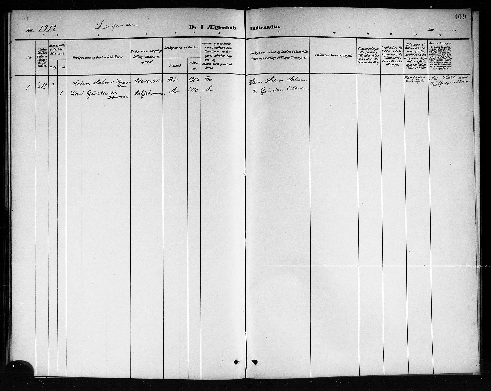 SAKO, Mo kirkebøker, G/Ga/L0002: Klokkerbok nr. I 2, 1892-1914, s. 109