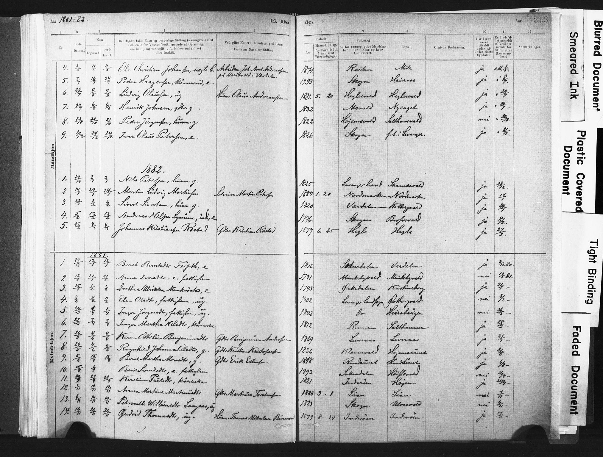 SAT, Ministerialprotokoller, klokkerbøker og fødselsregistre - Nord-Trøndelag, 721/L0207: Ministerialbok nr. 721A02, 1880-1911, s. 218