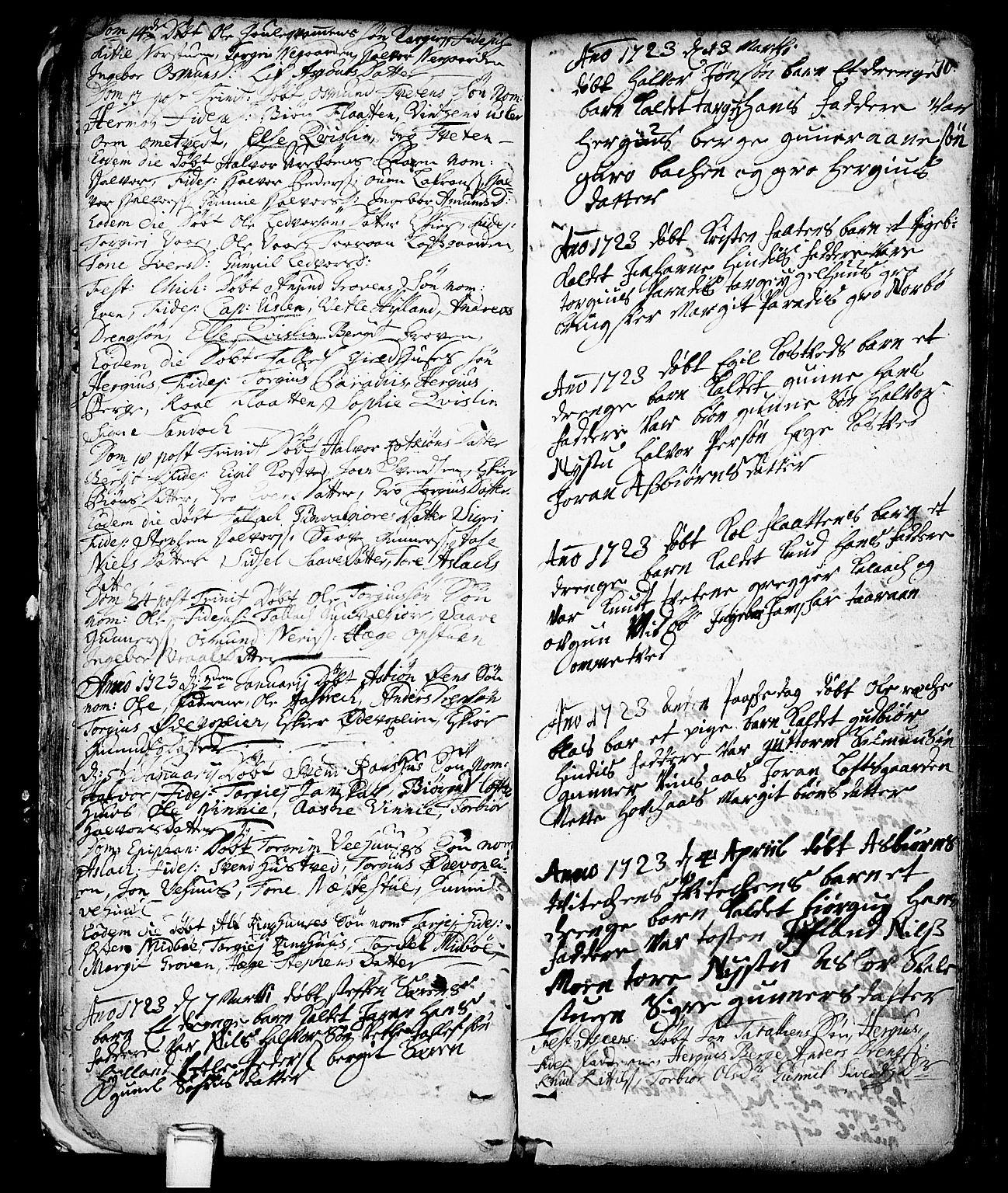SAKO, Vinje kirkebøker, F/Fa/L0001: Ministerialbok nr. I 1, 1717-1766, s. 70