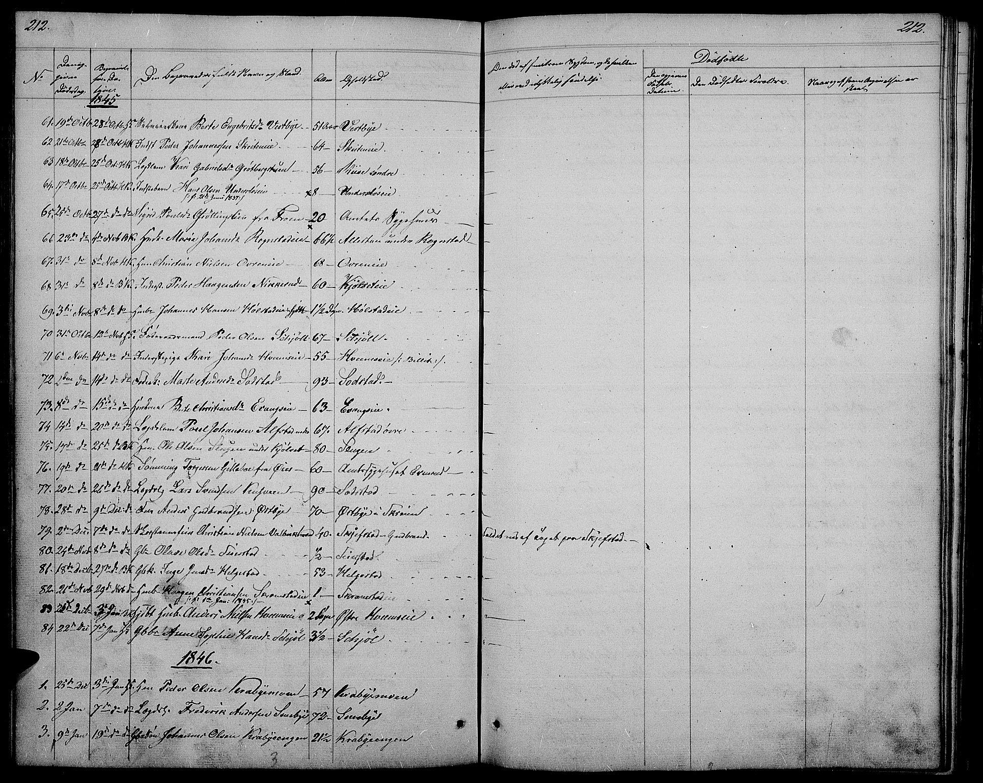 SAH, Østre Toten prestekontor, Klokkerbok nr. 2, 1840-1847, s. 212